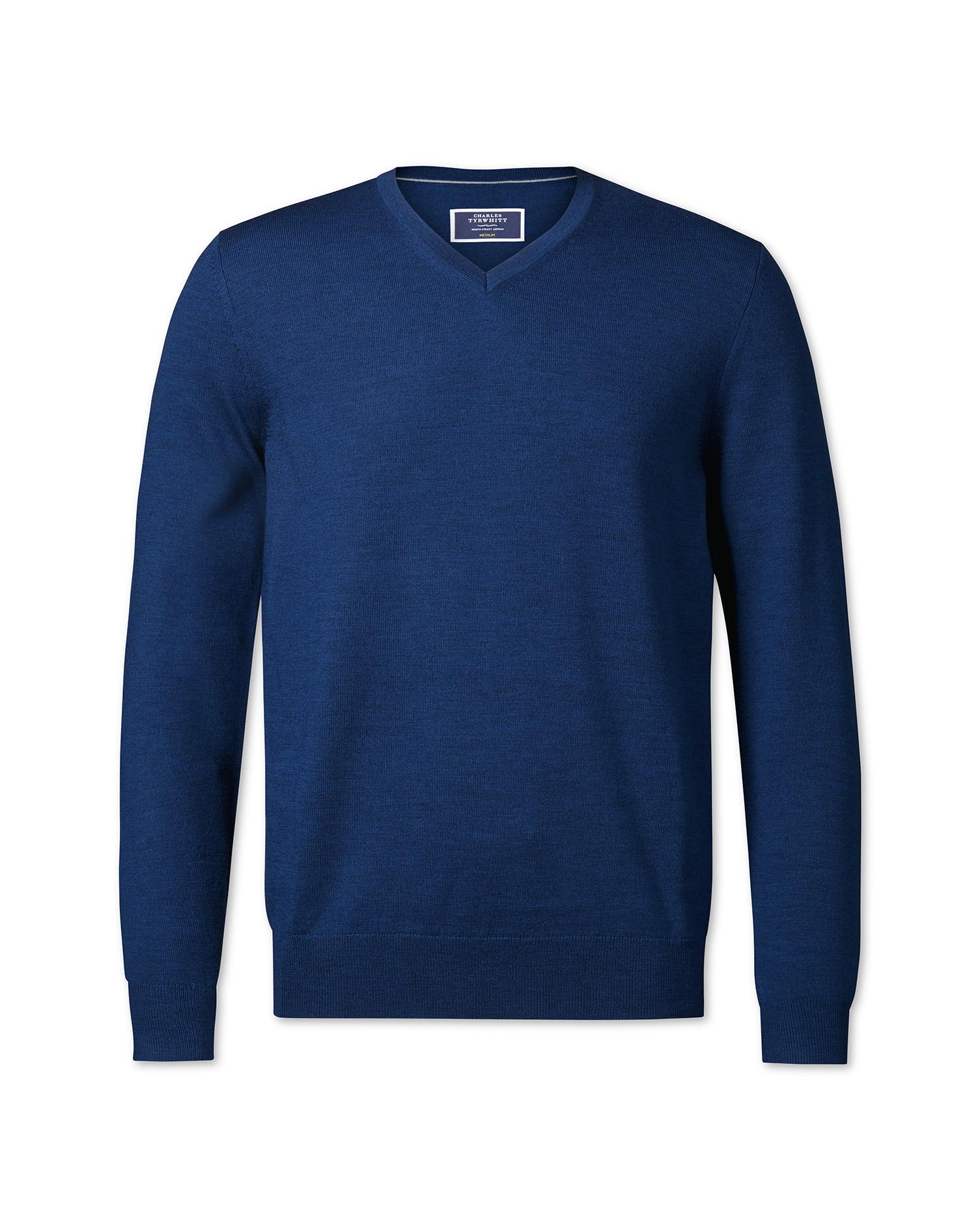 Royal Blue V-Neck Merino Wool Jumper Size Medium by Charles Tyrwhitt