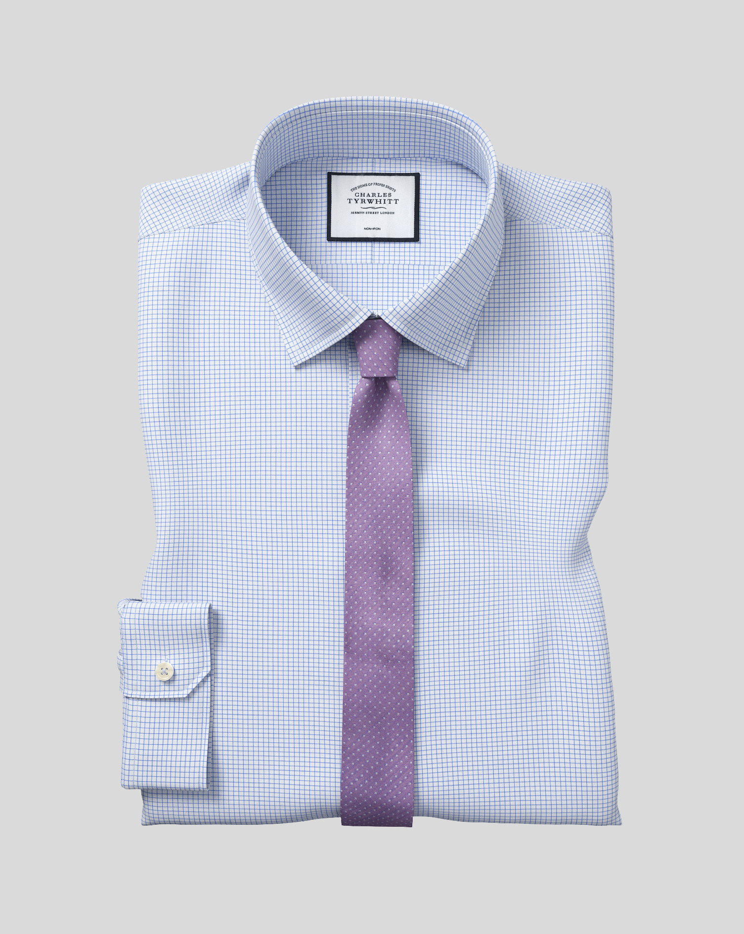 Super Slim Fit Non-Iron Sky Blue Mini Grid Check Cotton Formal Shirt Double Cuff Size 17/35 by Charl