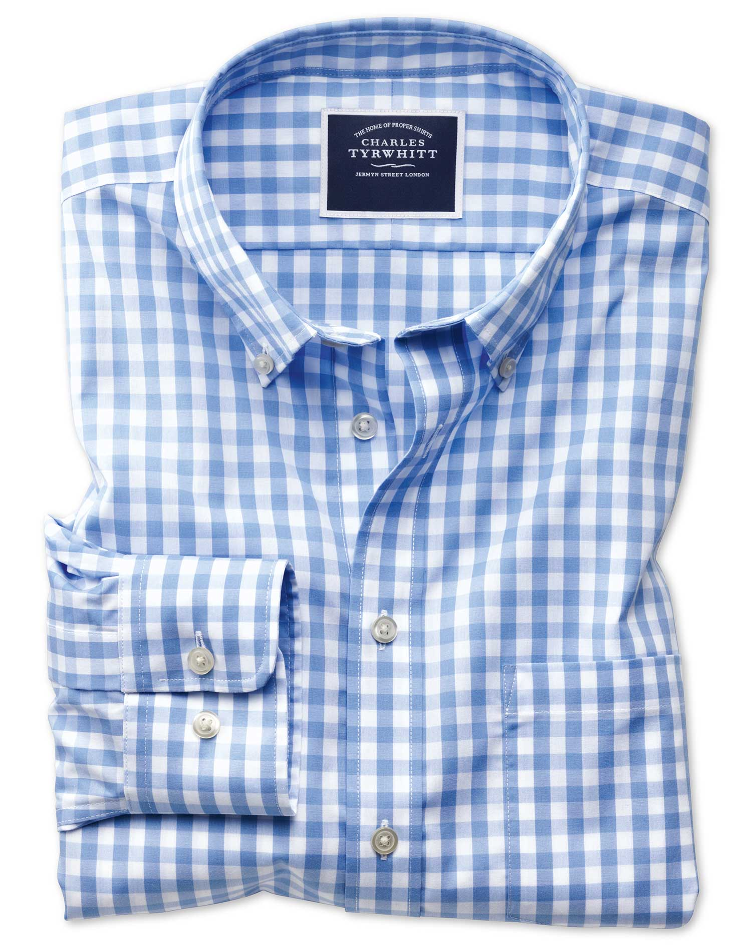 Front button placket, spread collar, button-closure cuffs, allover gingham print; Chest pocket with embroidered logo, horizontal back yoke, shirttail hem, slim fit.