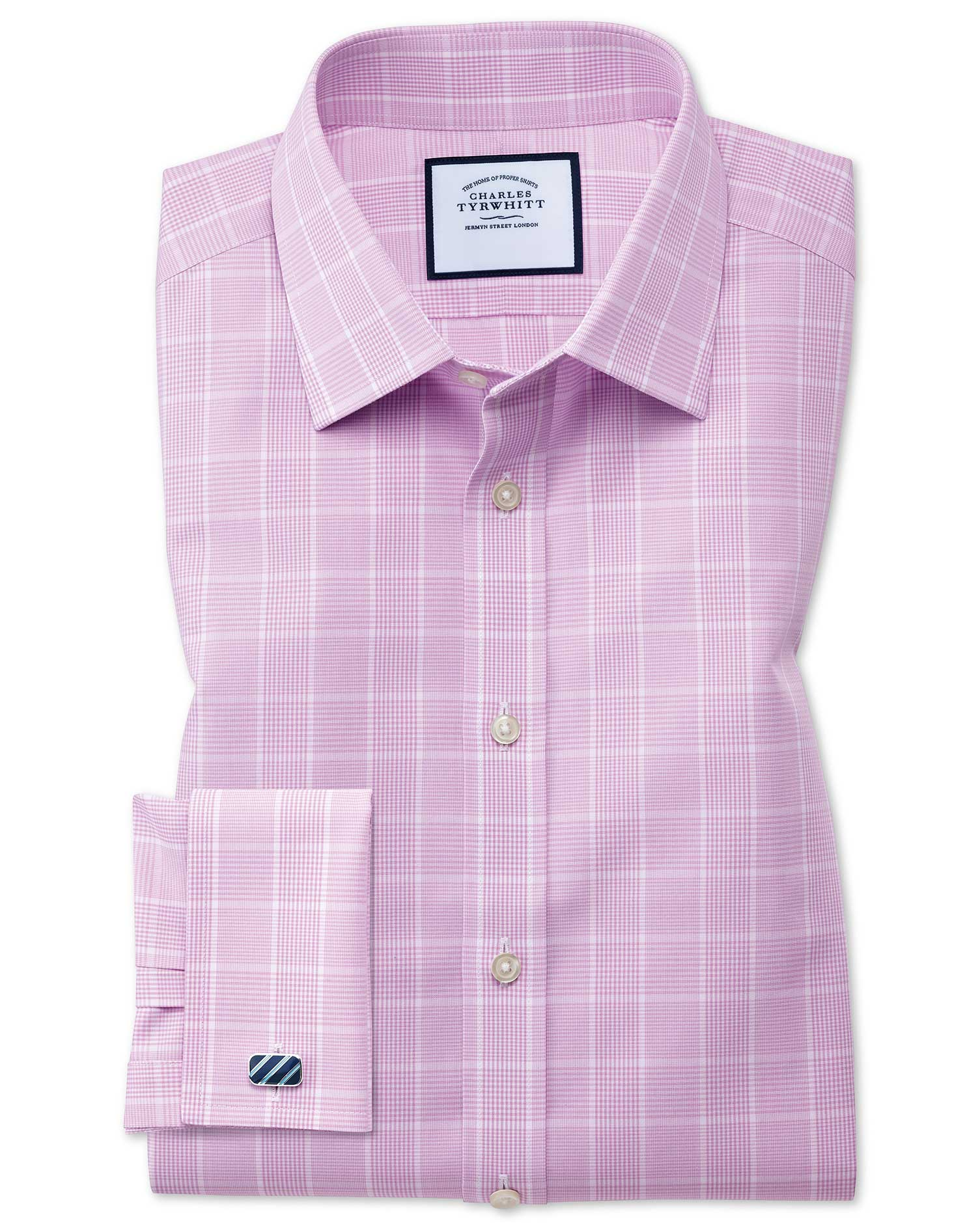 Classic Fit Non-Iron Prince Of Wales Pink Cotton Formal Shirt Single Cuff Size 16/35 by Charles Tyrw