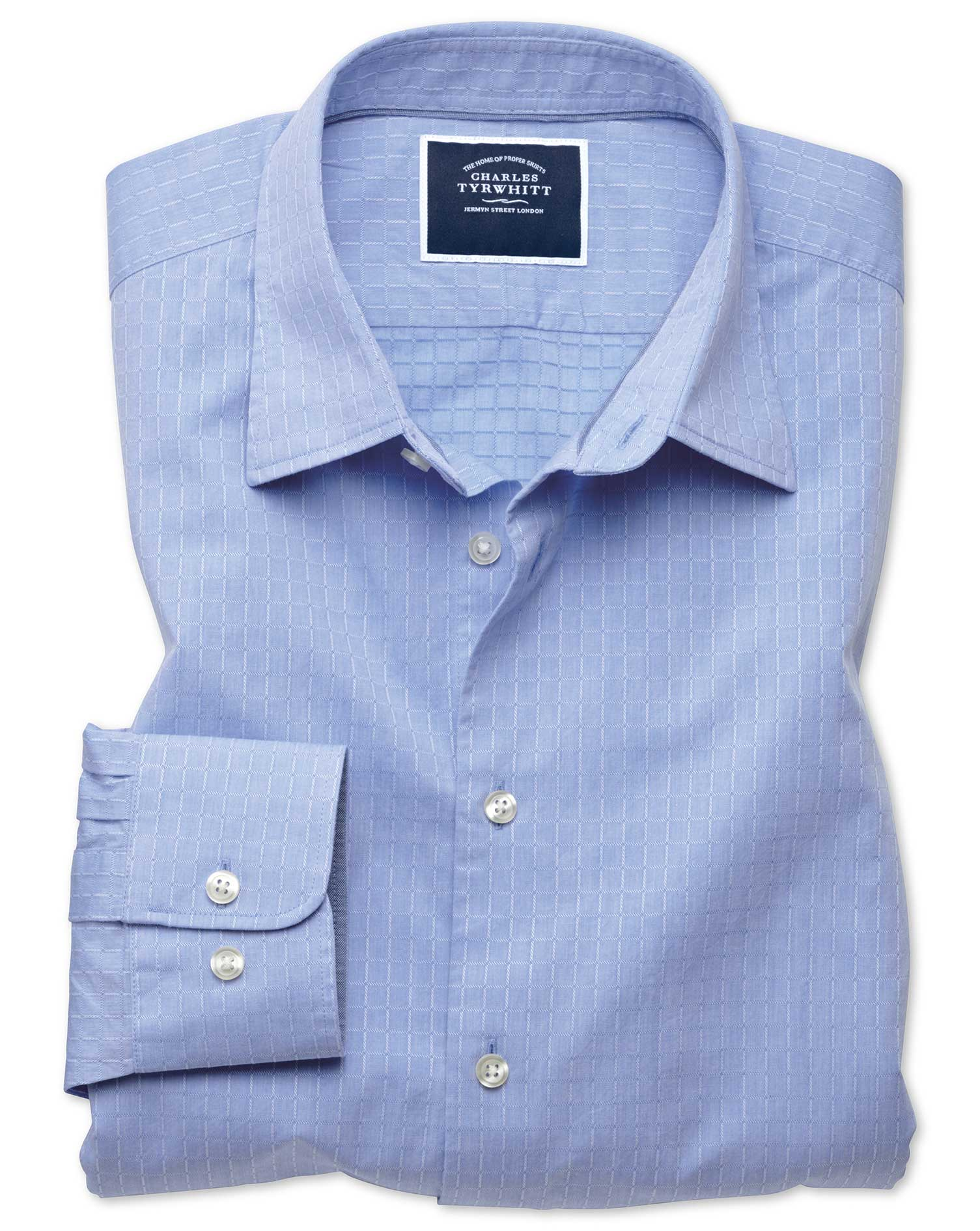 Slim Fit Blue Square Soft Texture Cotton Shirt Single Cuff Size Small by Charles Tyrwhitt