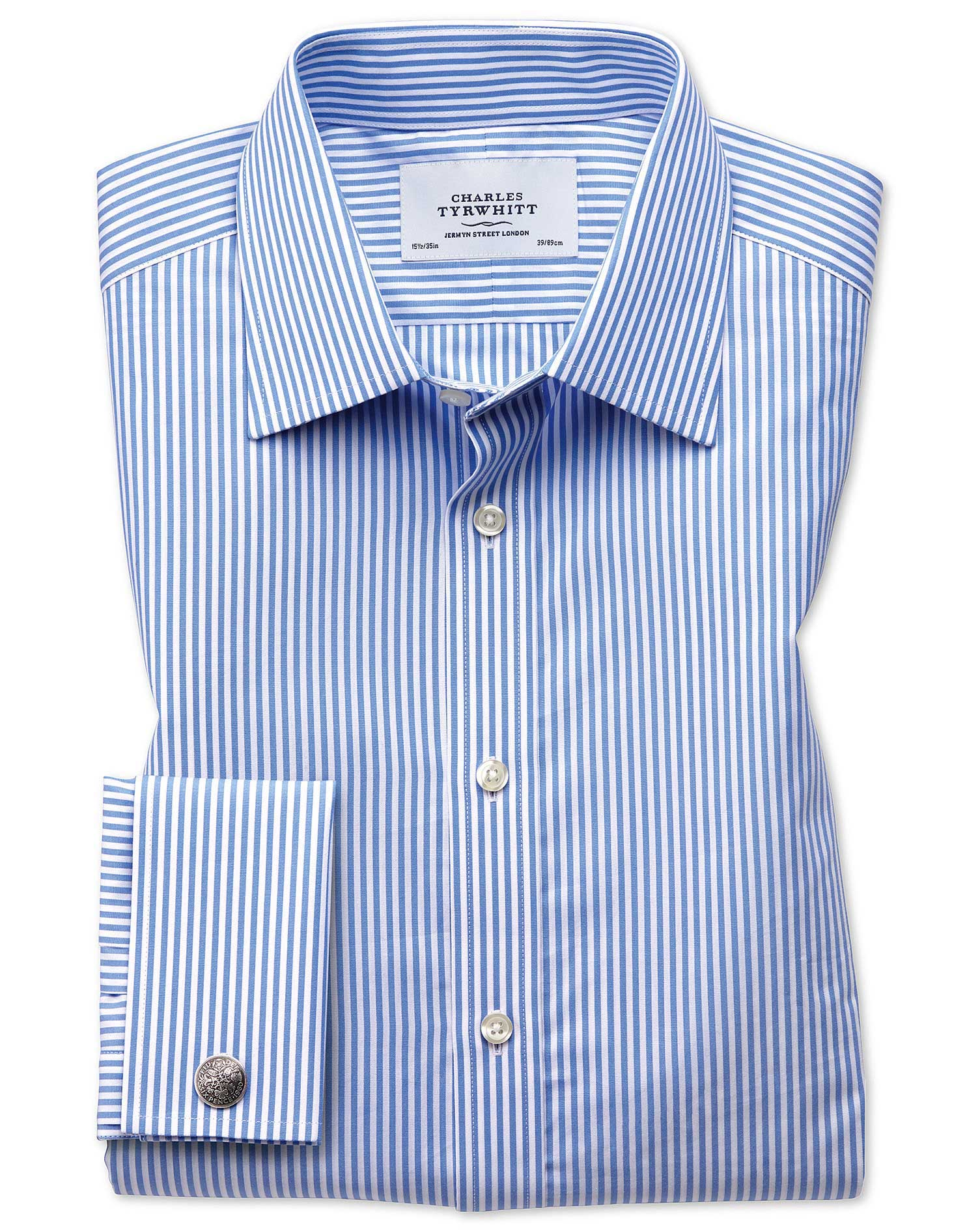 Slim Fit Bengal Stripe Sky Blue Cotton Formal Shirt Double Cuff Size 15/34 by Charles Tyrwhitt