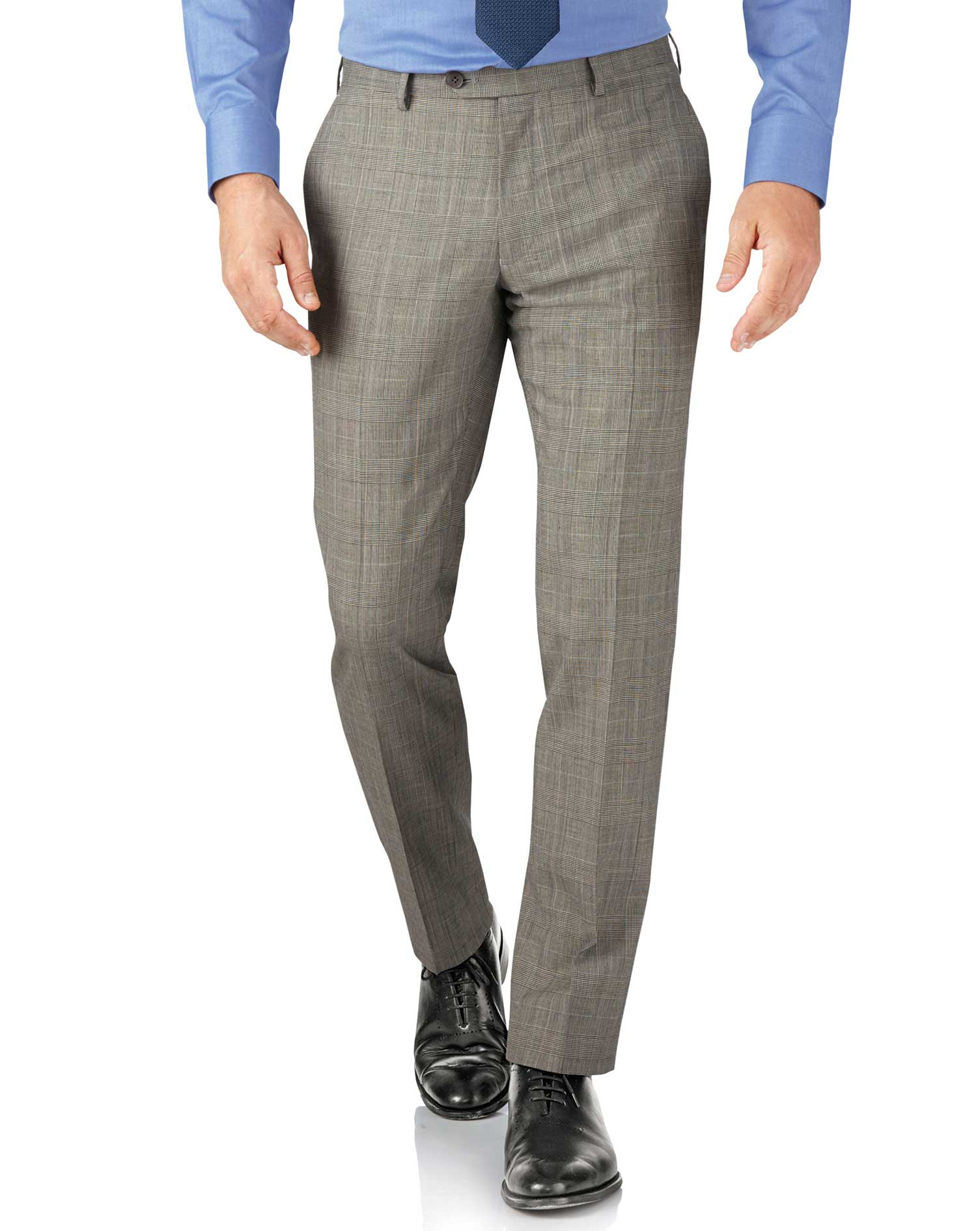 Grey Prince Of Wales Check Slim Fit Panama Business Suit Trouser Size W42 L32 by Charles Tyrwhitt