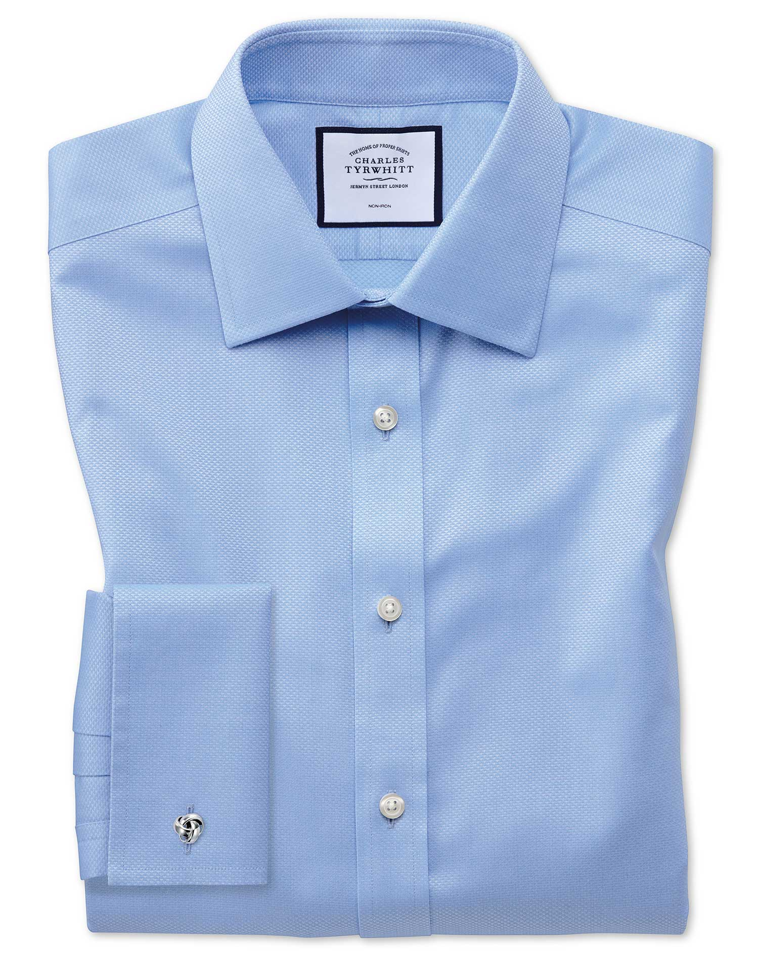 Slim Fit Non-Iron Sky Blue Triangle Weave Cotton Formal Shirt Single Cuff Size 15.5/35 by Charles Ty