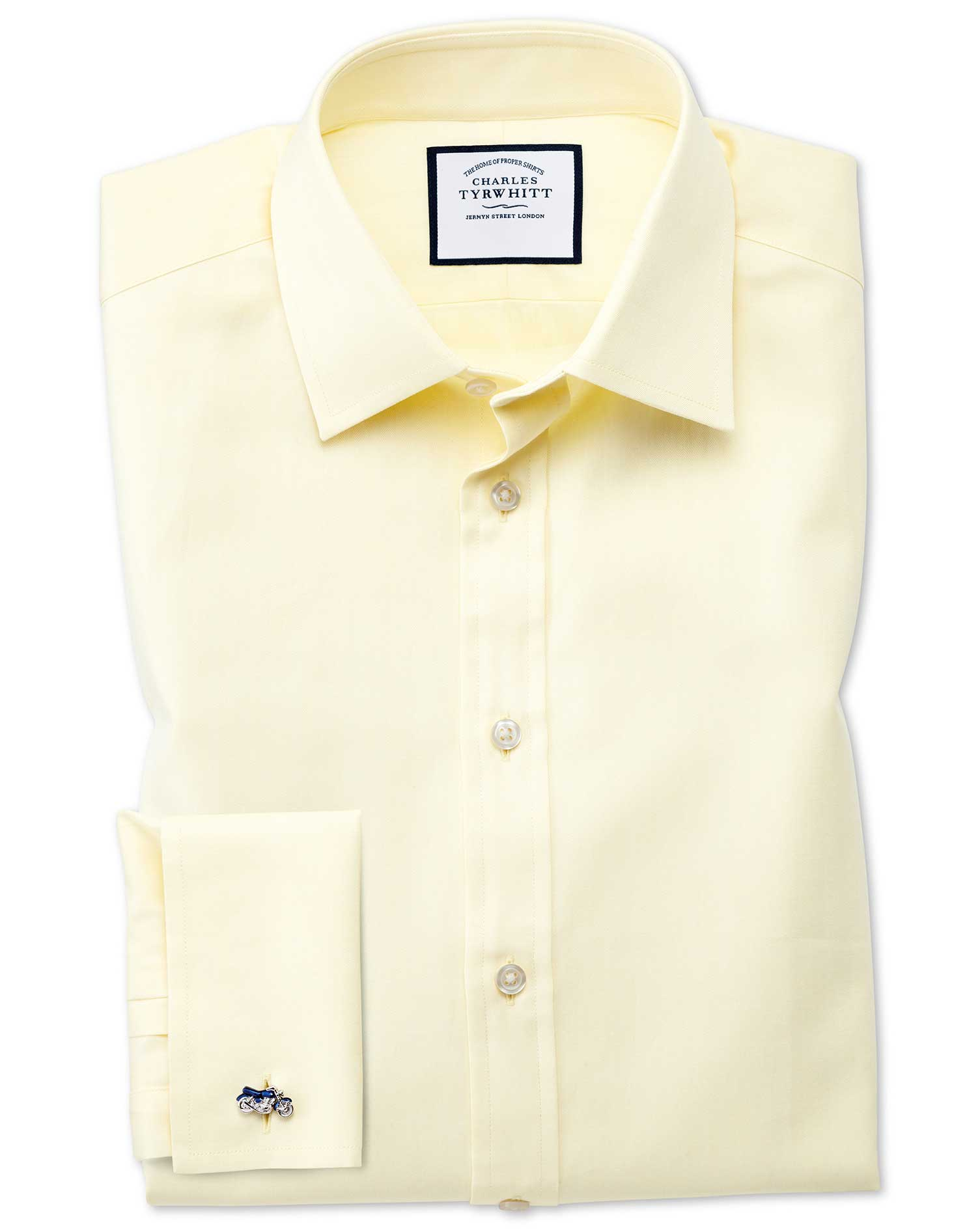 Classic Fit Fine Herringbone Yellow Cotton Formal Shirt Double Cuff Size 17/36 by Charles Tyrwhitt