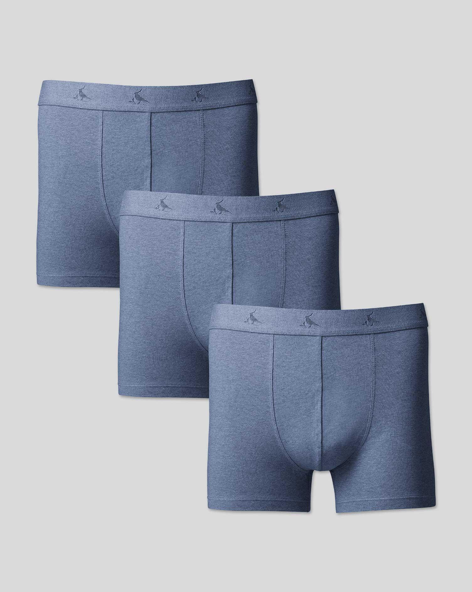 Image of Charles Tyrwhitt 3 Pack Cotton Stretch Jersey Trunks - Blue Size Medium by Charles Tyrwhitt