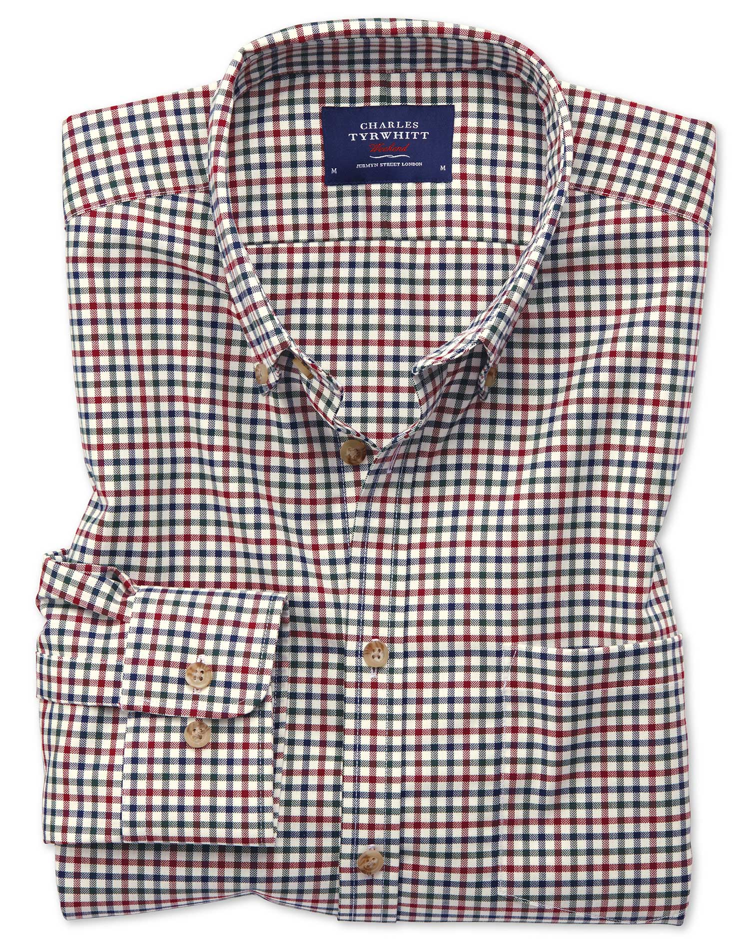 Slim Fit Button-Down Non-Iron Twill Multi Gingham Cotton Shirt Single Cuff Size Large by Charles Tyr