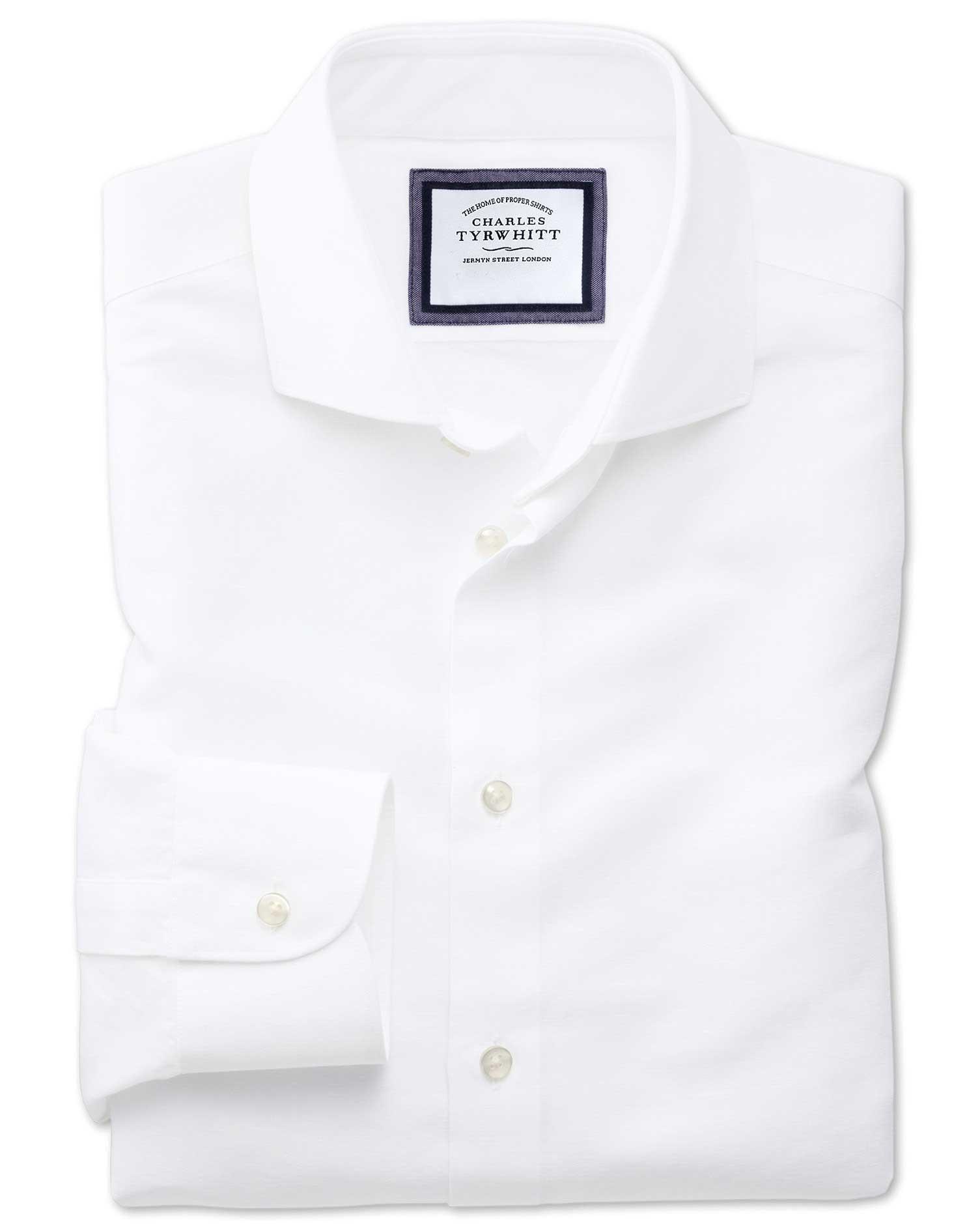 Slim fit semi spread collar business casual linen cotton for Semi spread collar shirt