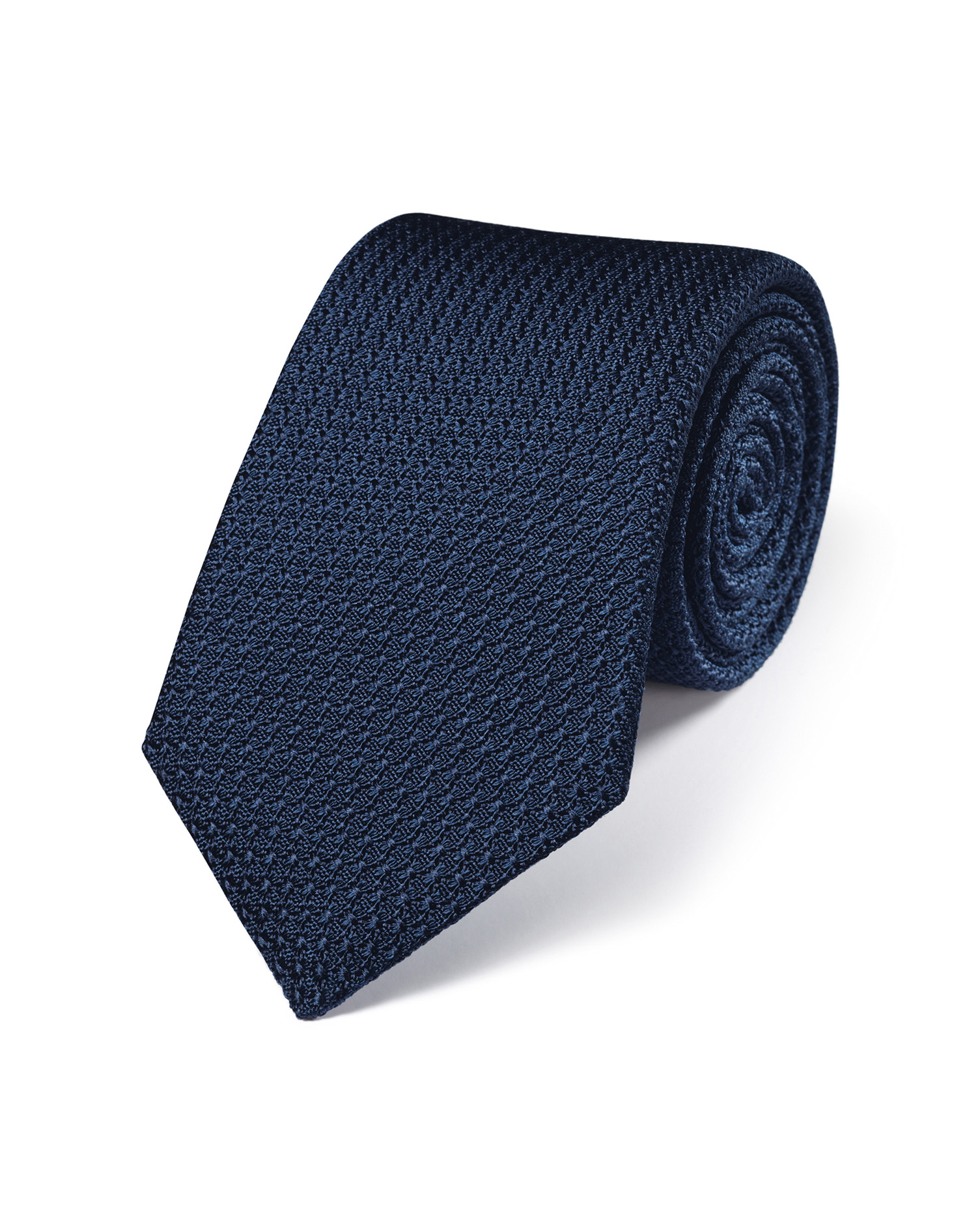 Navy silk plain grenadine Italian luxury tie | Charles
