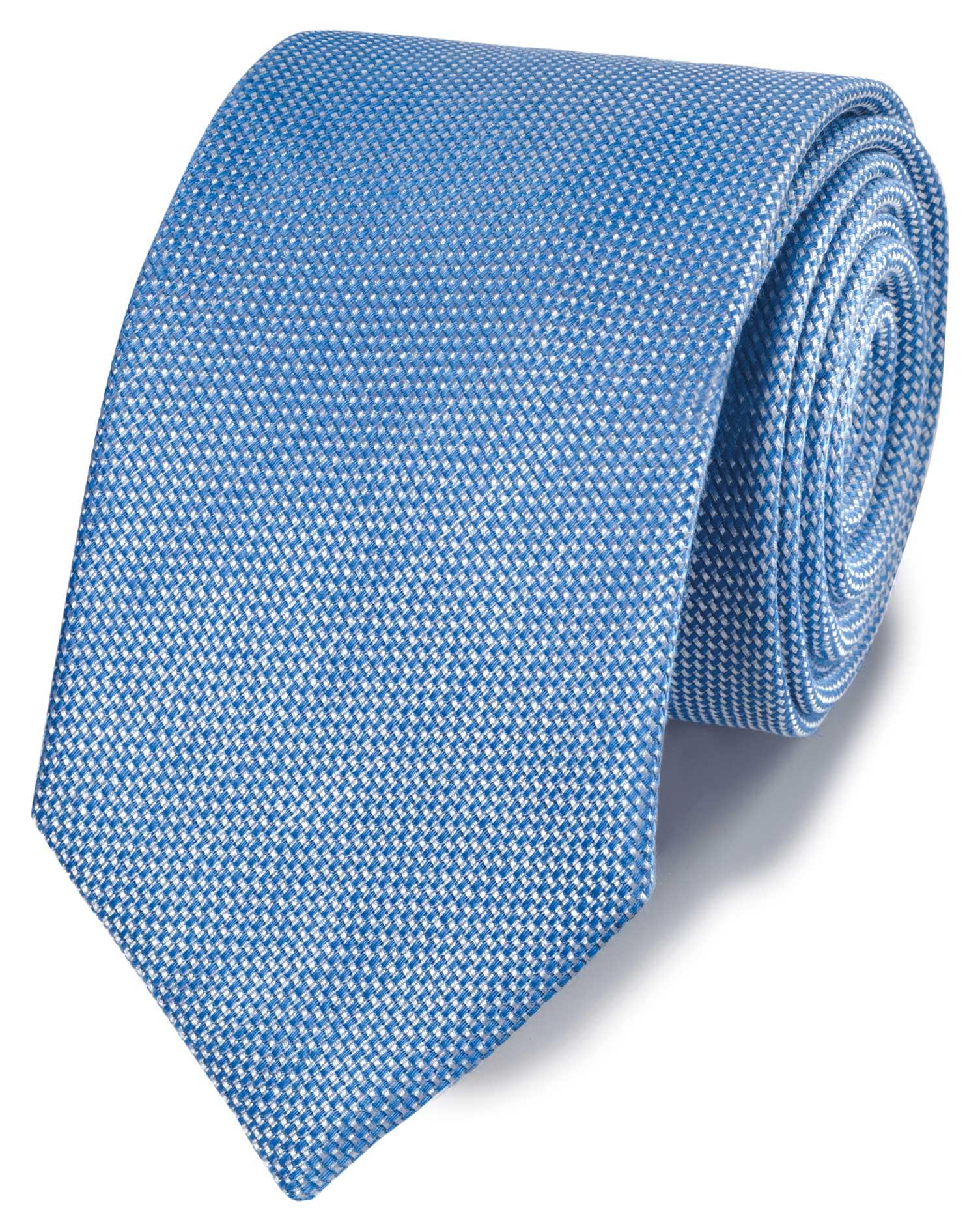 Klassische Krawatte Leinen/Seide Einfarbig in Hellblau