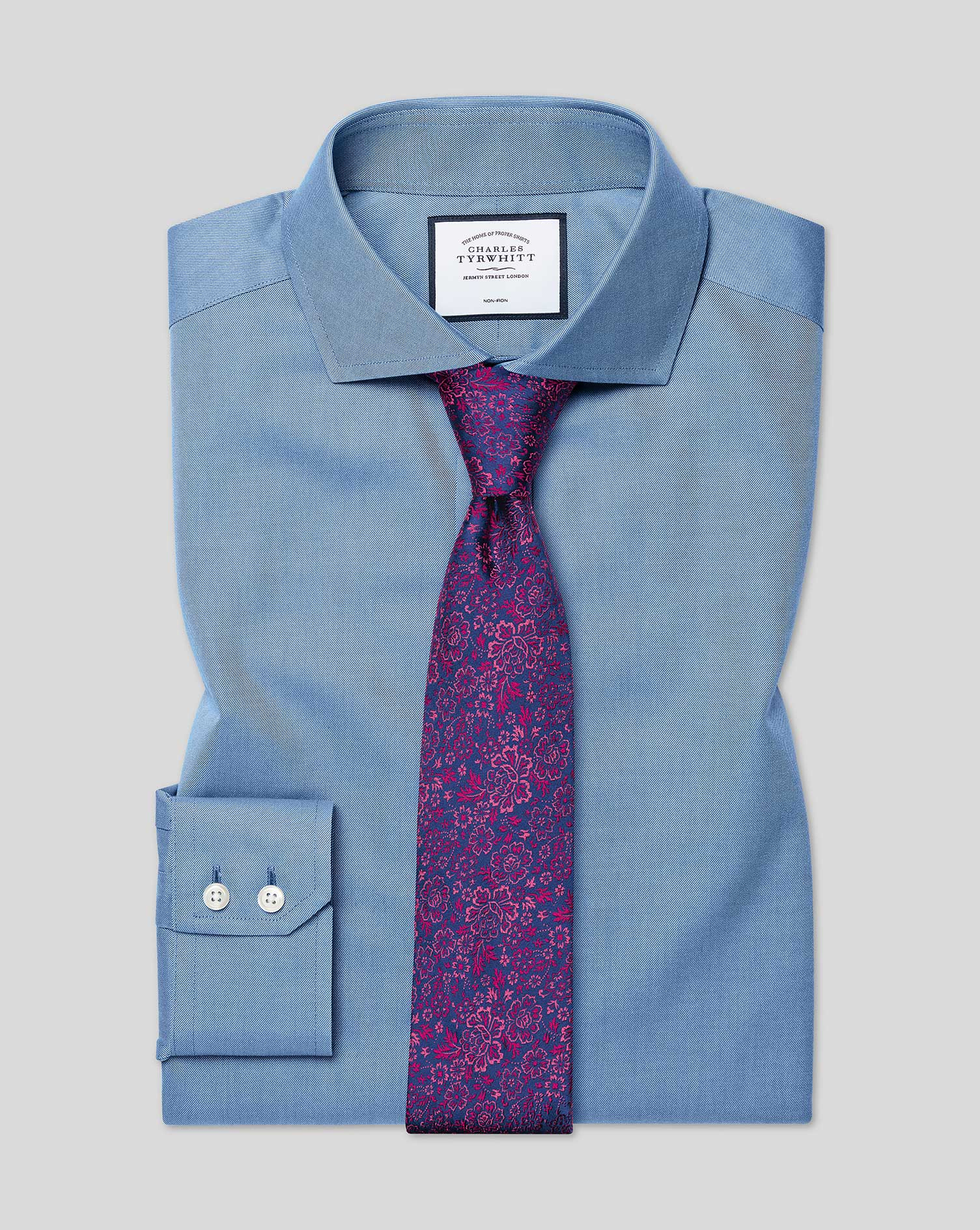 Slim Fit Non-Iron Cutaway Collar Twill Blue Cotton Formal Shirt Double Cuff Size 17.5/34 by Charles