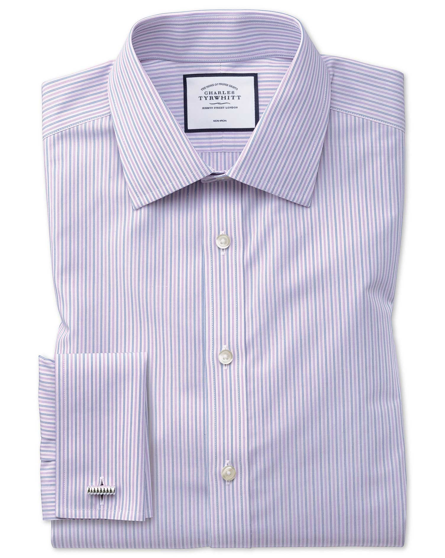Classic Fit Non-Iron Lilac and Blue Multi Stripe Cotton Formal Shirt Single Cuff Size 16/36 by Charl