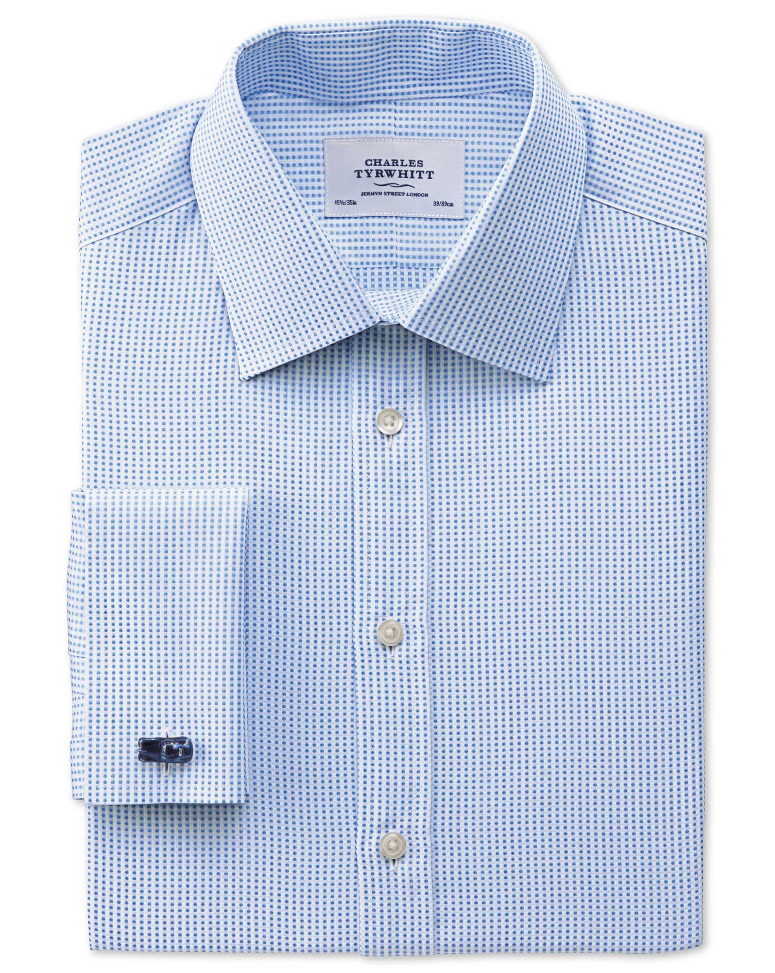 Classic Fit Pima Cotton Double-Faced Sky Blue Formal Shirt Single Cuff Size 16/38 by Charles Tyrwhit