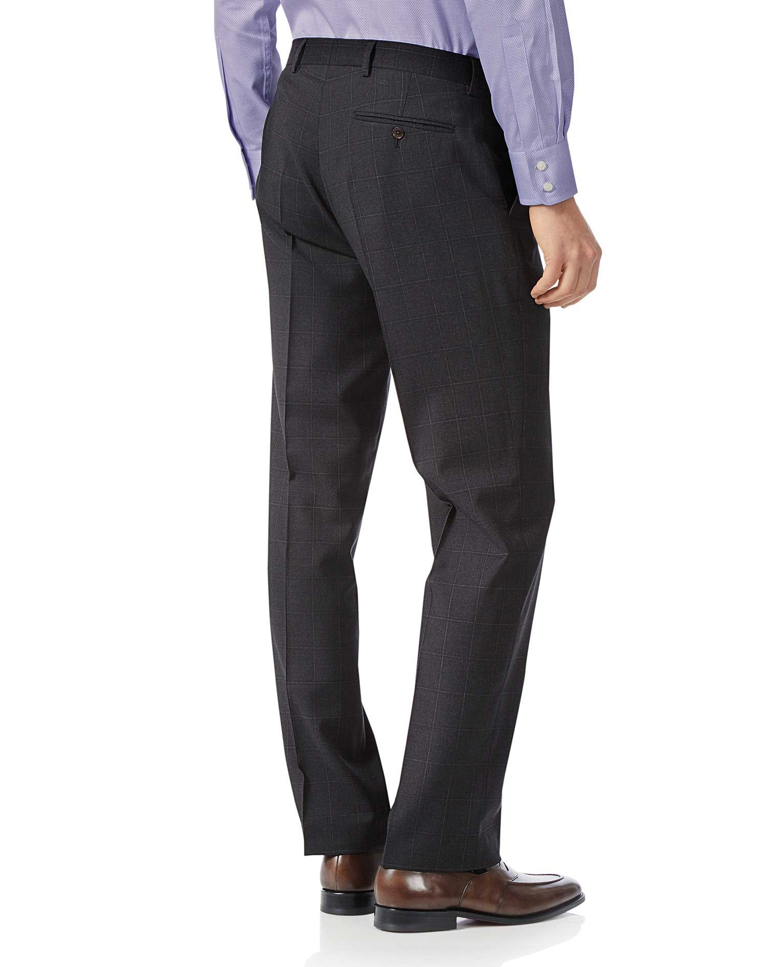 Grey check classic fit Italian suit trousers