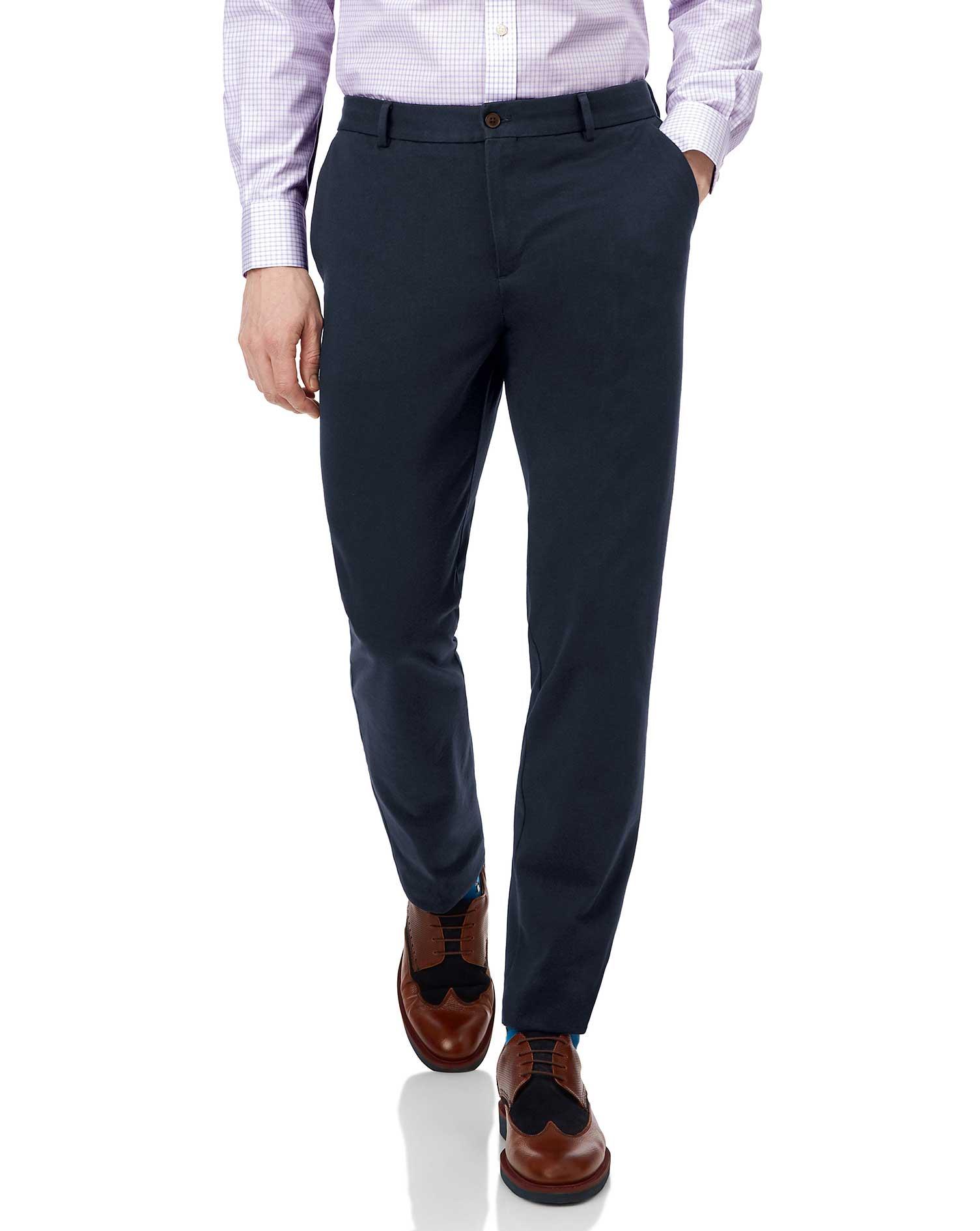 Cotton Navy Non-Iron Travel Trouser