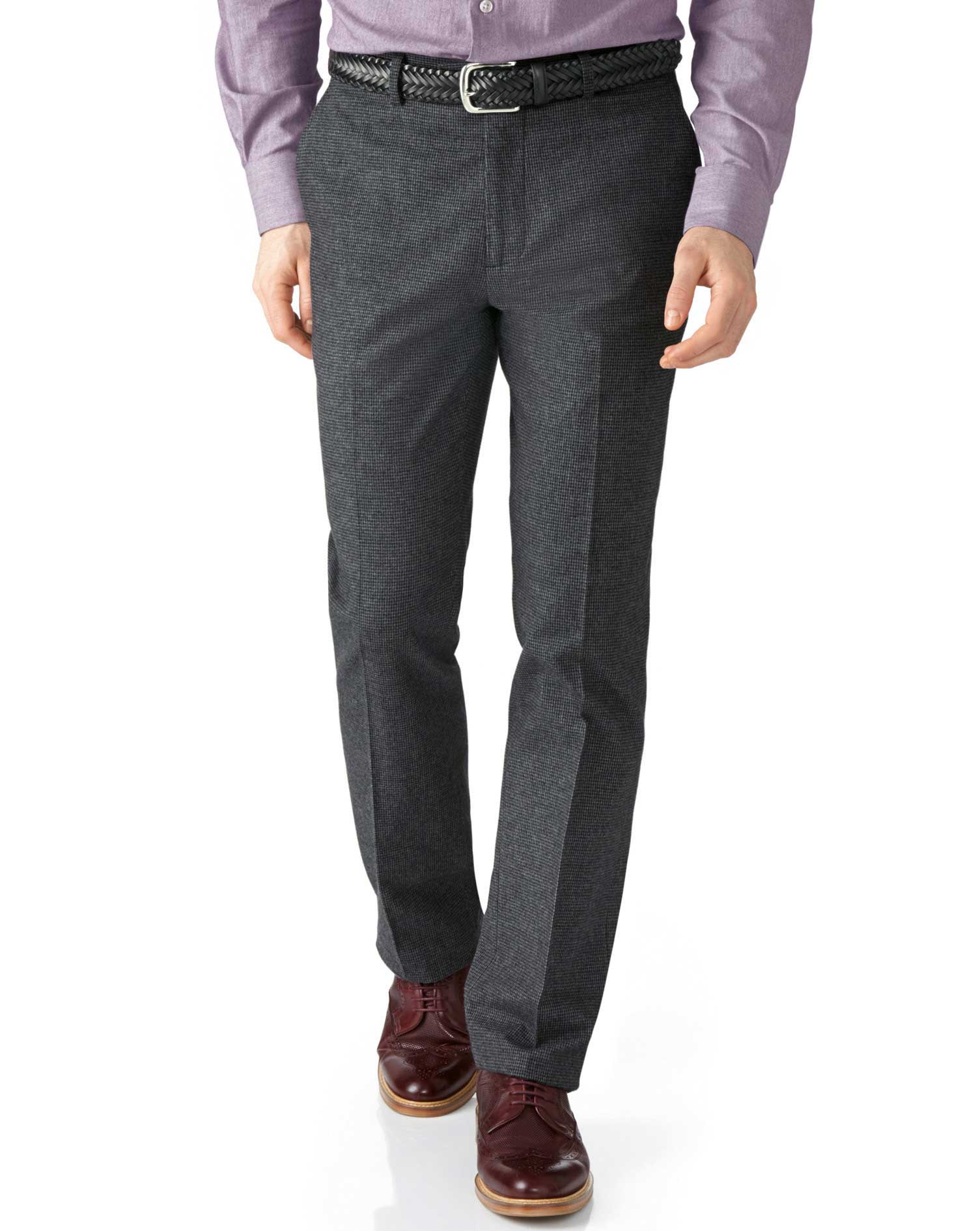 Grey Slim Fit Cotton Flannel Trouser Size W38 L32 by Charles Tyrwhitt
