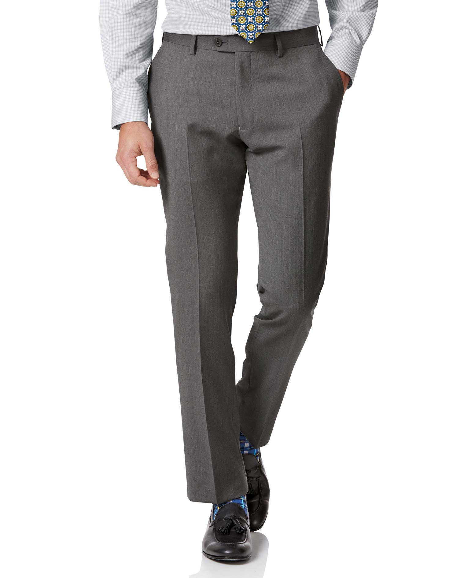 Light Grey Slim Fit Herringbone Business Suit Trousers Size W34 L38 by Charles Tyrwhitt