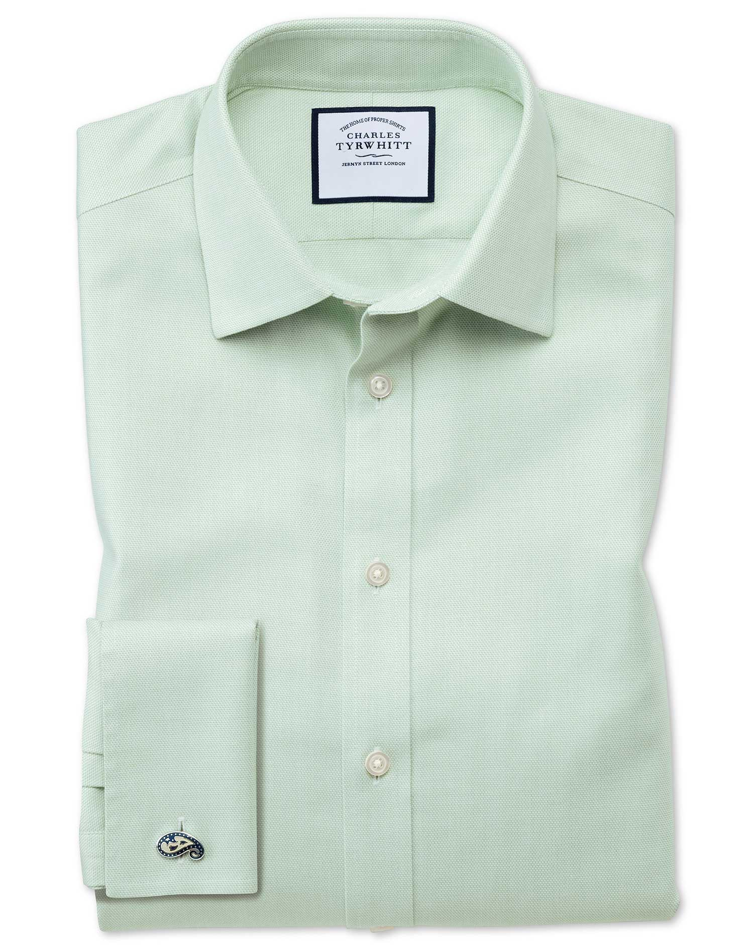 Slim Fit Non-Iron Step Weave Green Cotton Formal Shirt Single Cuff Size 17.5/35 by Charles Tyrwhitt