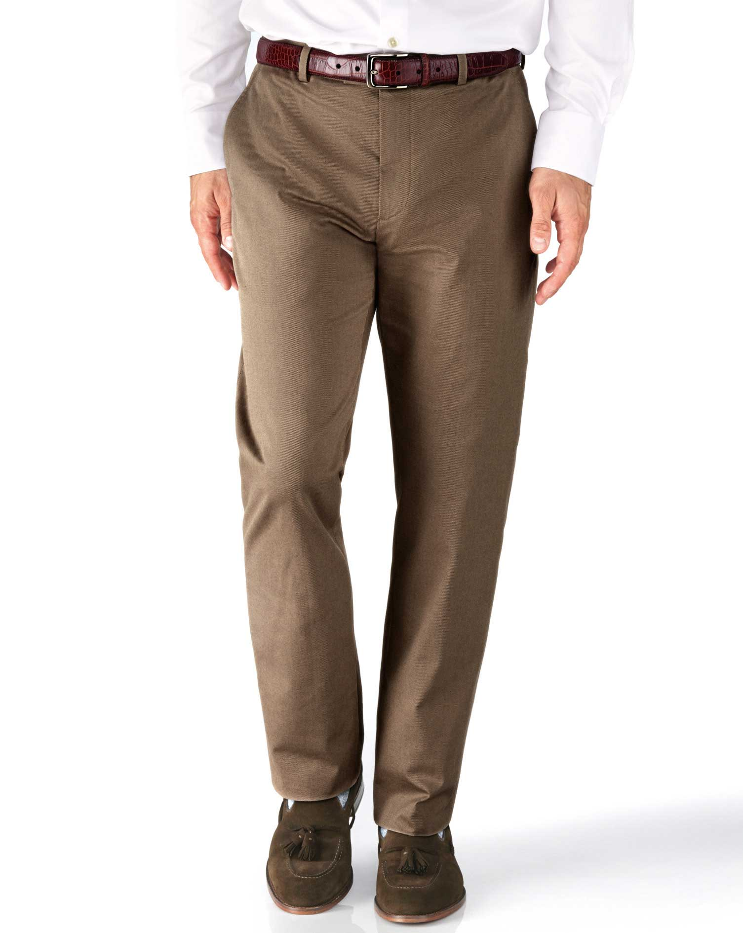 Tan Slim Fit Stretch Cavalry Twill Trousers Size W38 L32 by Charles Tyrwhitt
