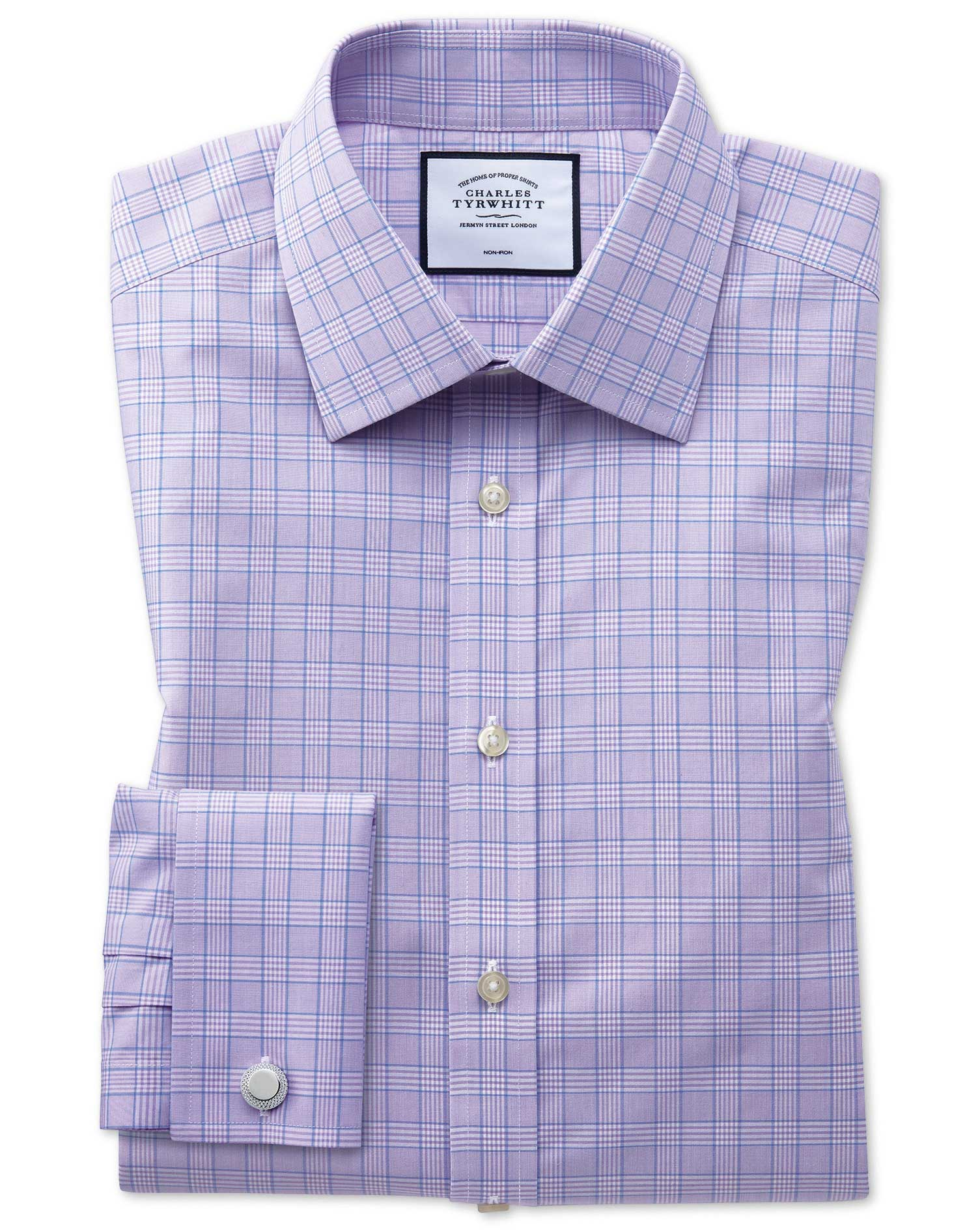 Slim Fit Non-Iron Lilac and Blue Prince Of Wales Check Cotton Formal Shirt Double Cuff Size 16.5/34