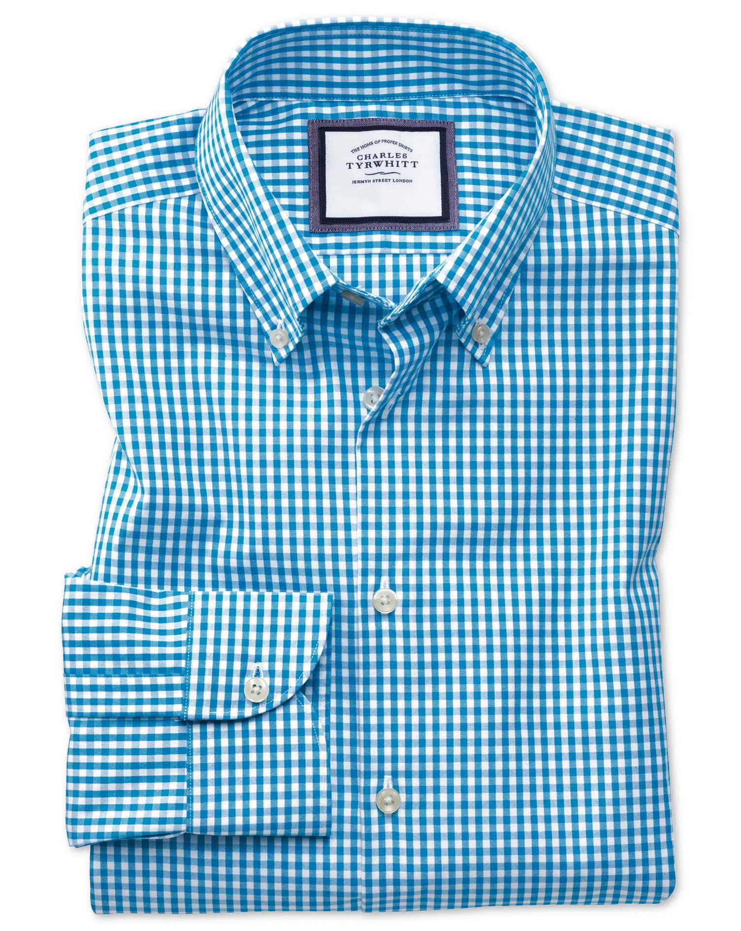Classic Fit Button-Down Business Casual Non-Iron Aqua Blue Cotton Formal Shirt Single Cuff Size 16/3