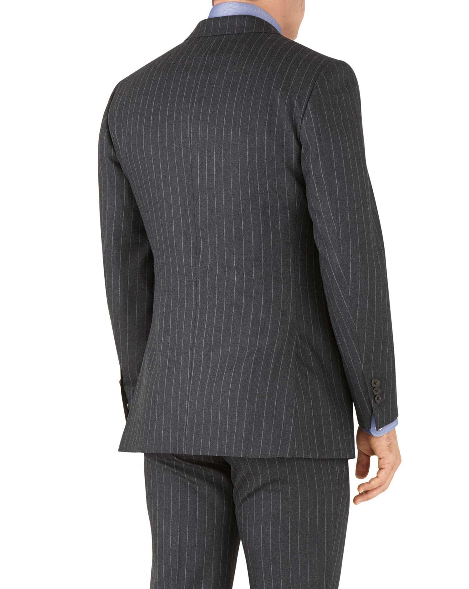 Veste de costume business charcoal en flanelle slim fit avec rayures