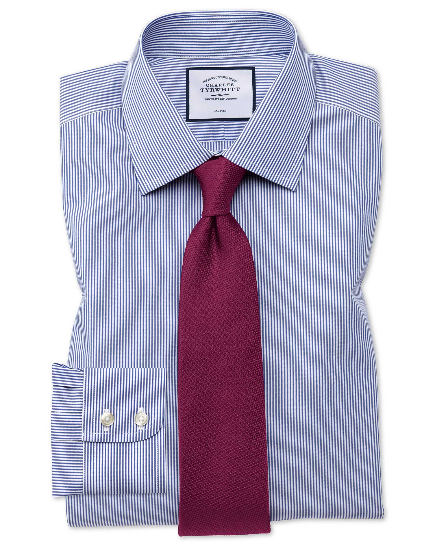 Extra slim fit non iron bengal stripe navy shirt charles for Slim fit non iron shirts