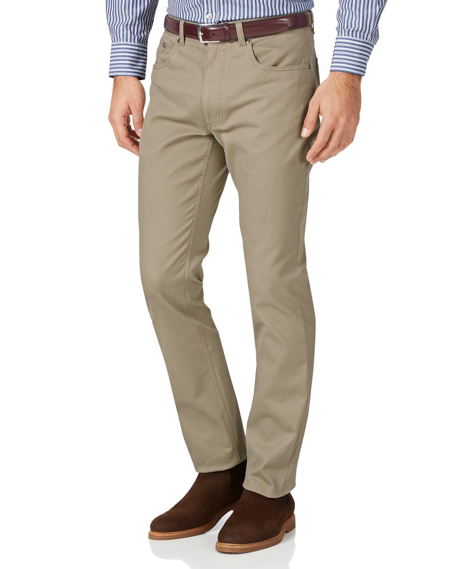 Stone Slim Fit Five Pocket Bedford Corduroy Trousers Size W30 L34 by Charles Tyrwhitt