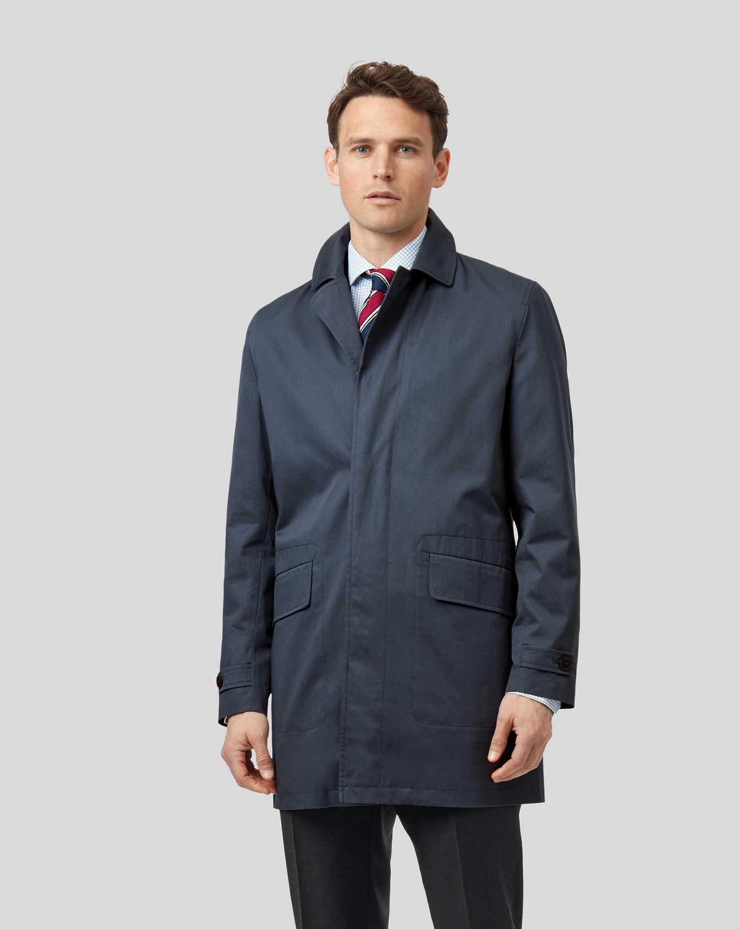 Airforce Blue Italian RainCotton coat Size 42 Regular by Charles Tyrwhitt