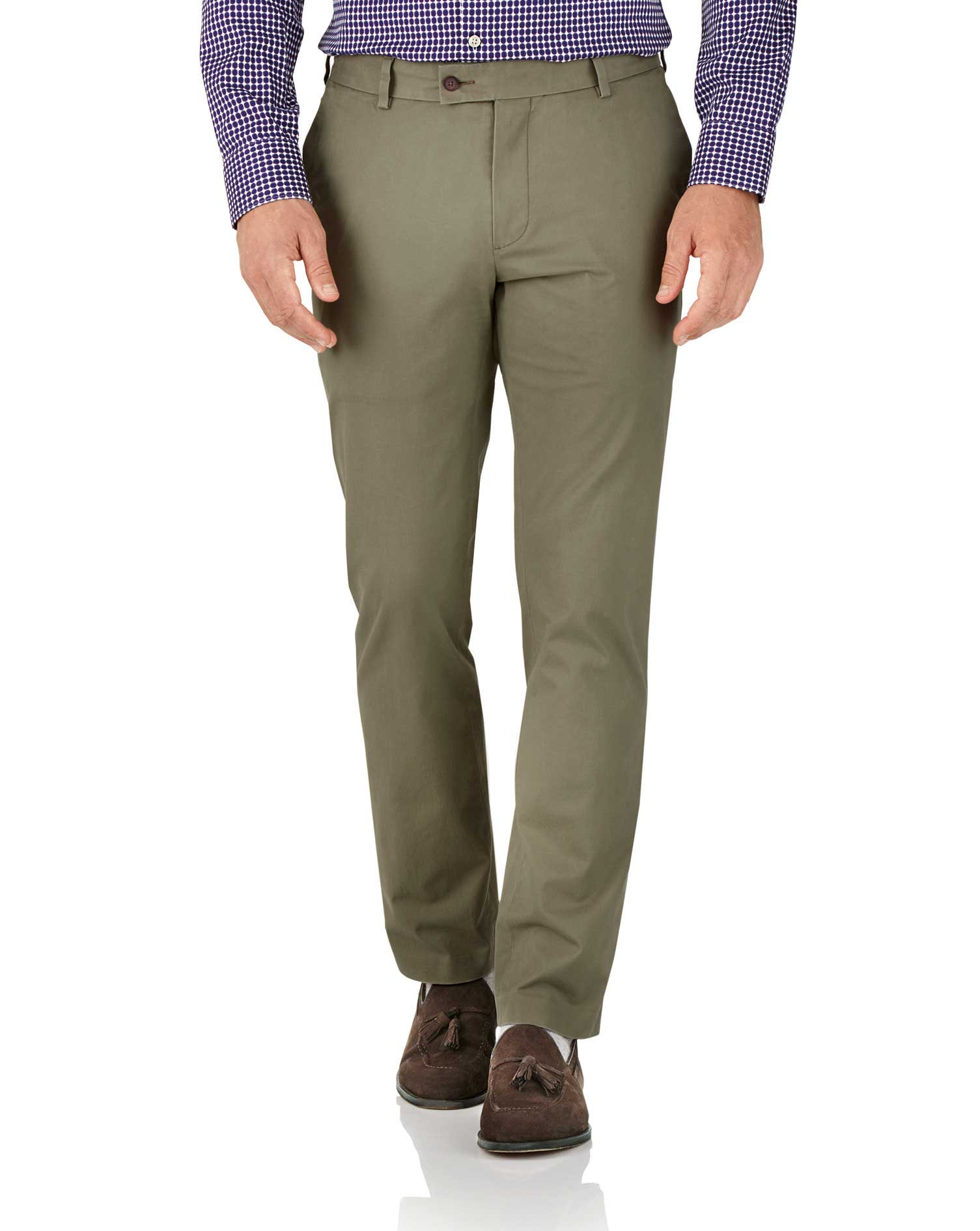 Khaki Slim Fit Stretch Cotton Chino Trousers Size W36 L30 by Charles Tyrwhitt