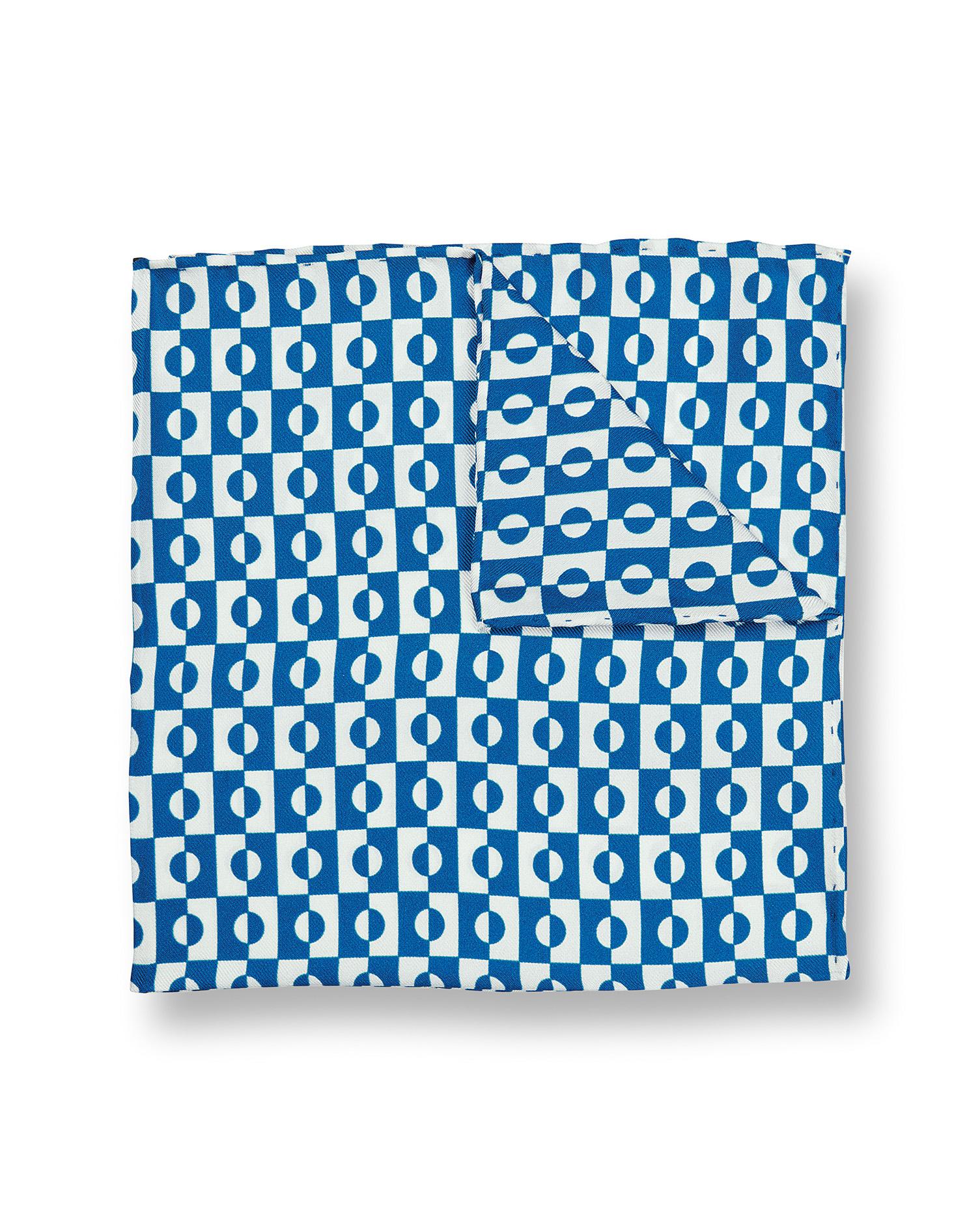 Image of Charles Tyrwhitt Abstract Geometric Print Silk Pocket Square - Royal Blue & White by Charles Tyrwhitt