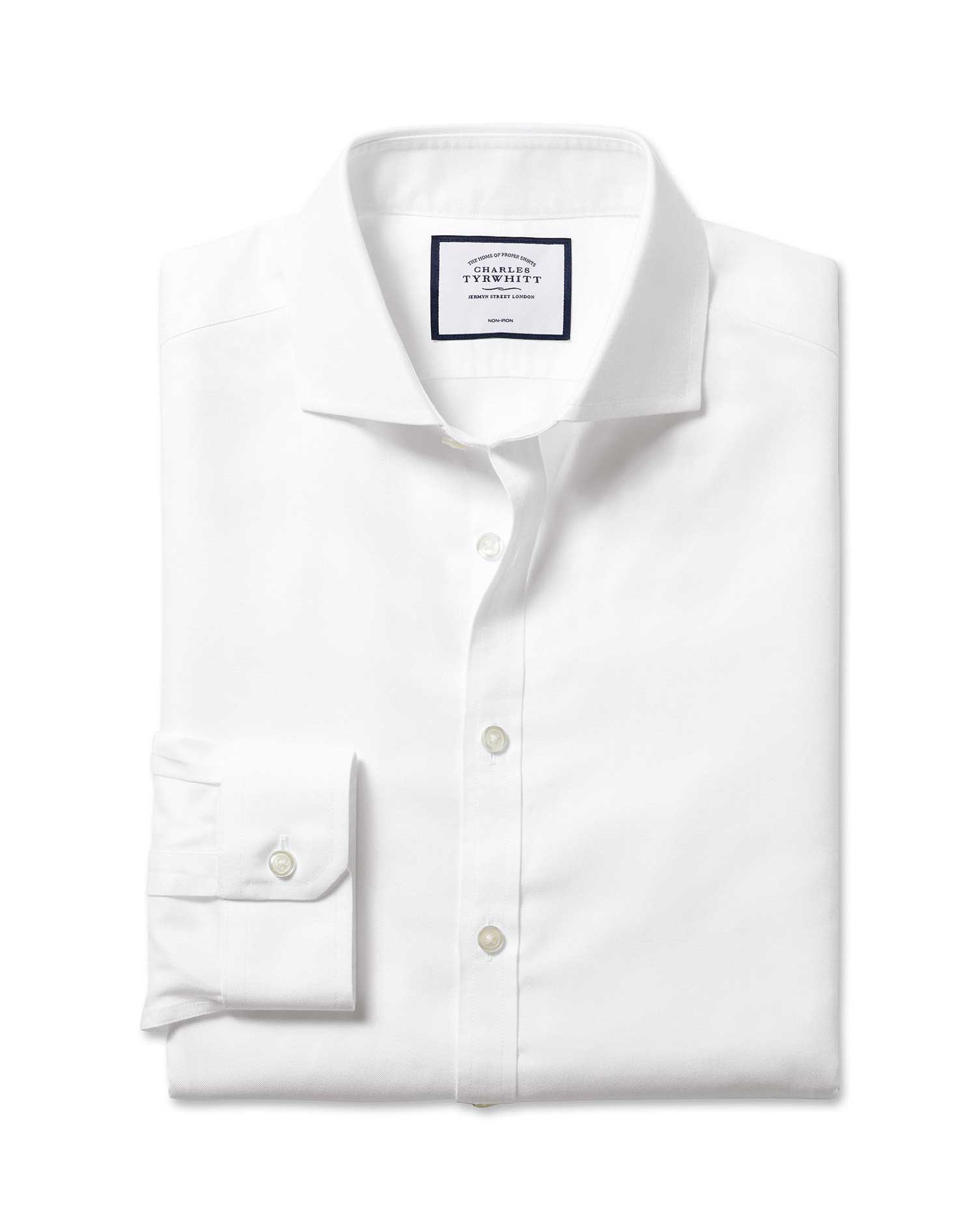 Super slim fit spread collar non iron twill white shirt for Spread collar dress shirt without tie