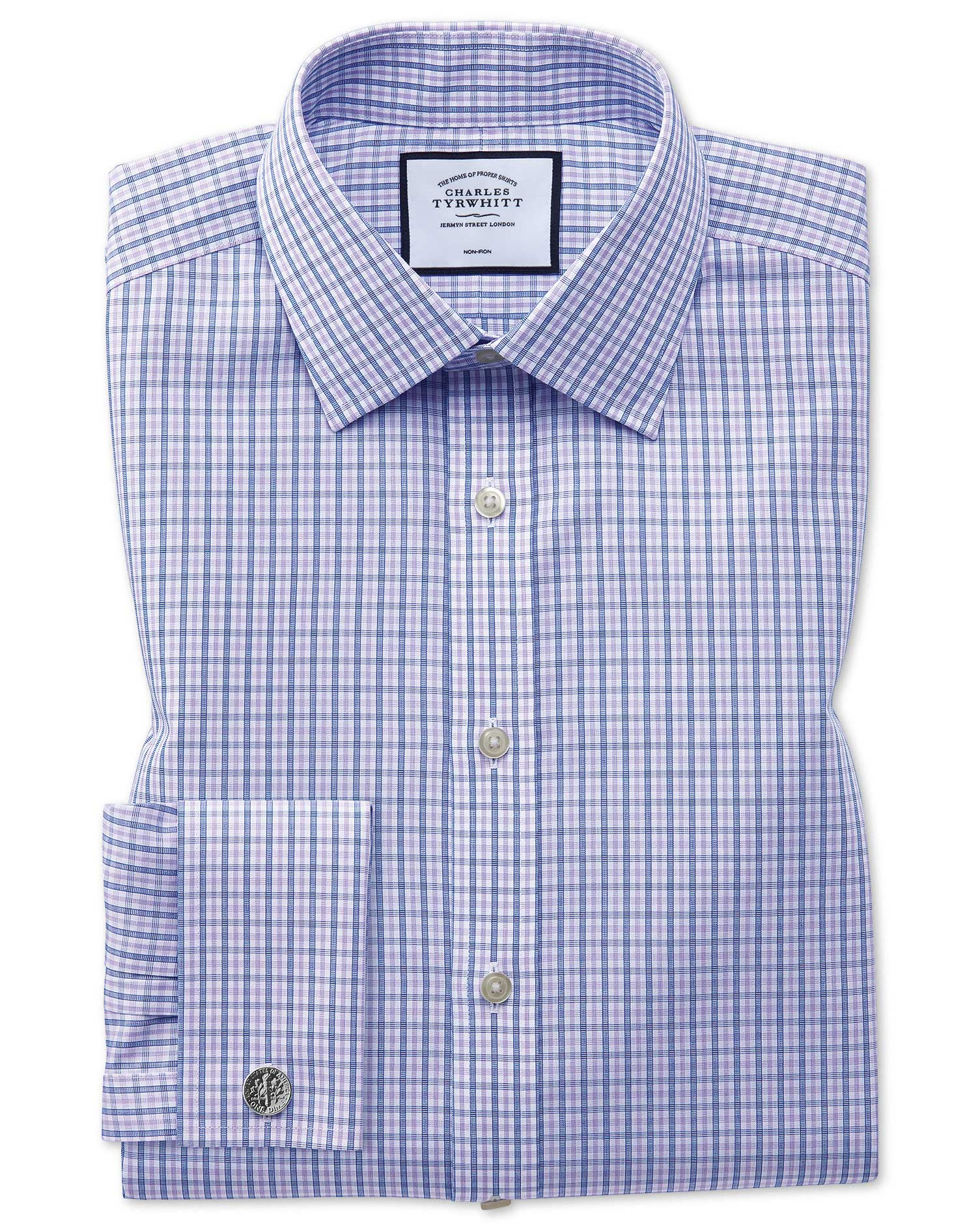 Slim Fit Non-Iron Blue and Purple Check Cotton Formal Shirt Double Cuff Size 16.5/36 by Charles Tyrw