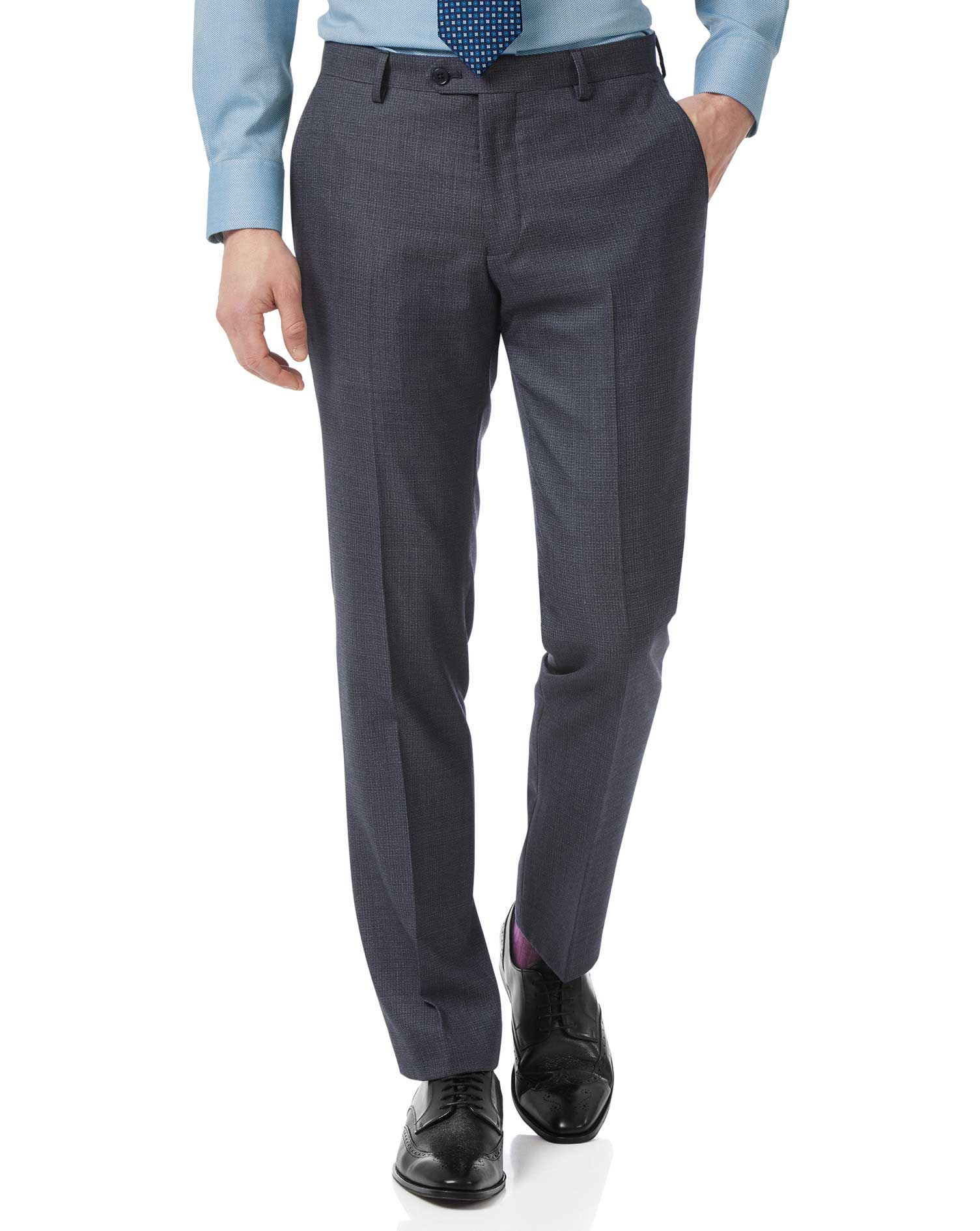 Airforce Blue Slim Jaspe Business Suit Trousers Size W32 L38 by Charles Tyrwhitt