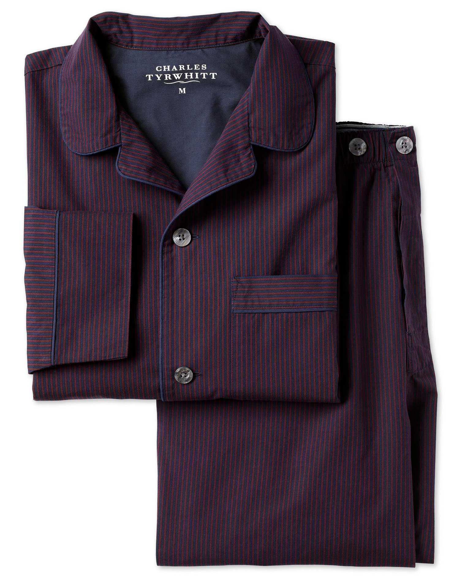 Red and Navy Stripe Pyjama Set Size Medium by Charles Tyrwhitt