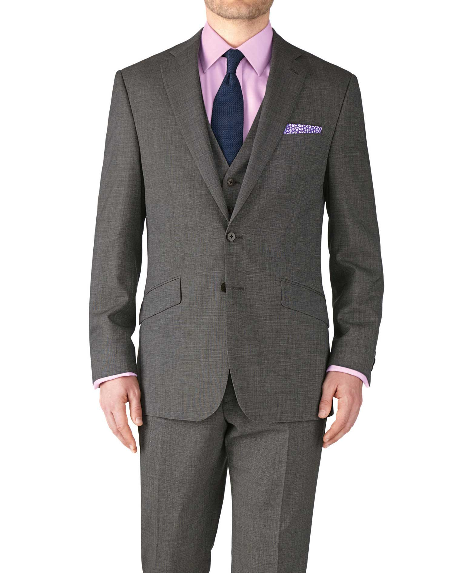 Grey Slim Fit End-On-End Business Suit Wool Jacket Size 42 Short by Charles Tyrwhitt