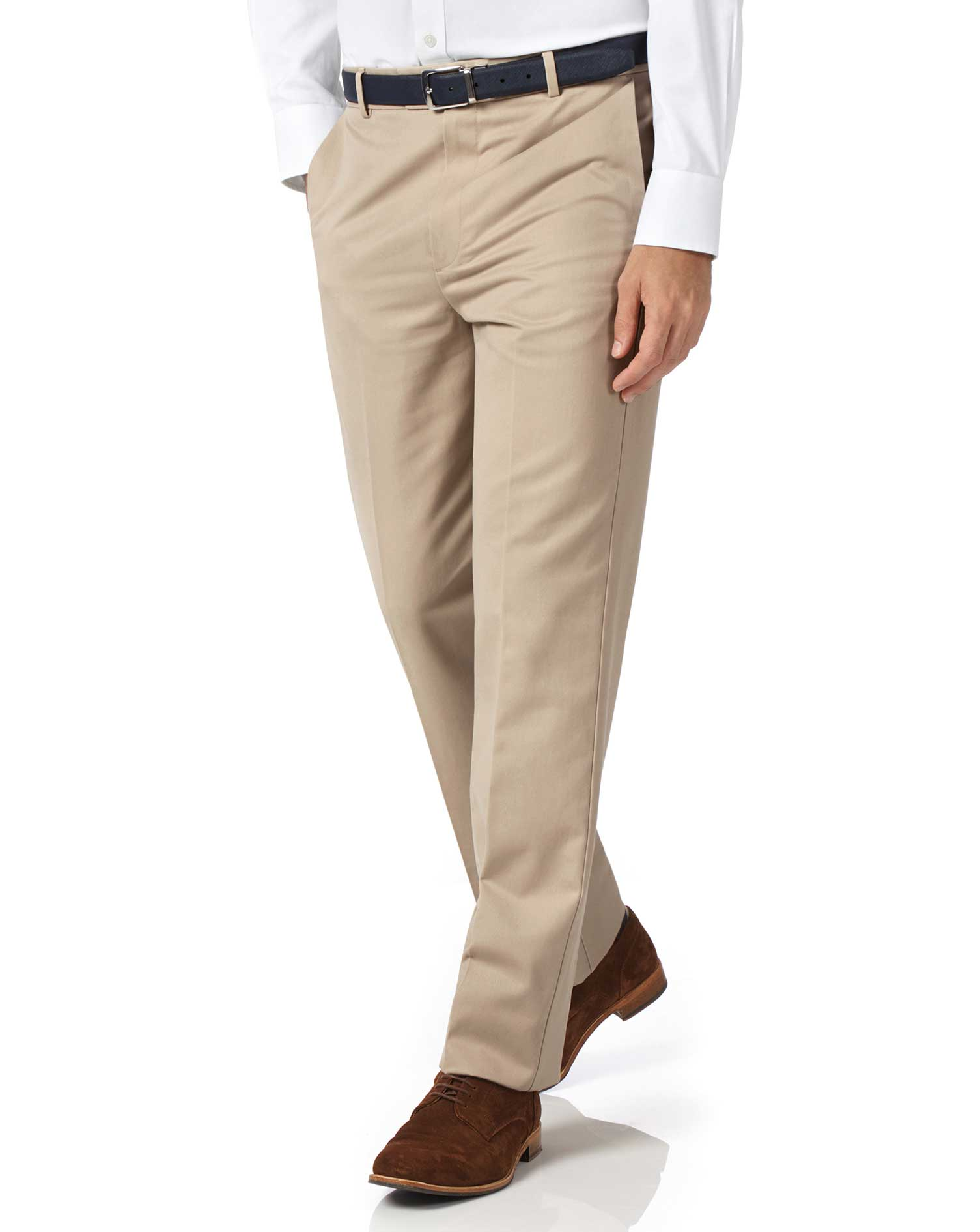 Stone Classic Fit Flat Front Non-Iron Cotton Chino Trousers Size W34 L38 by Charles Tyrwhitt