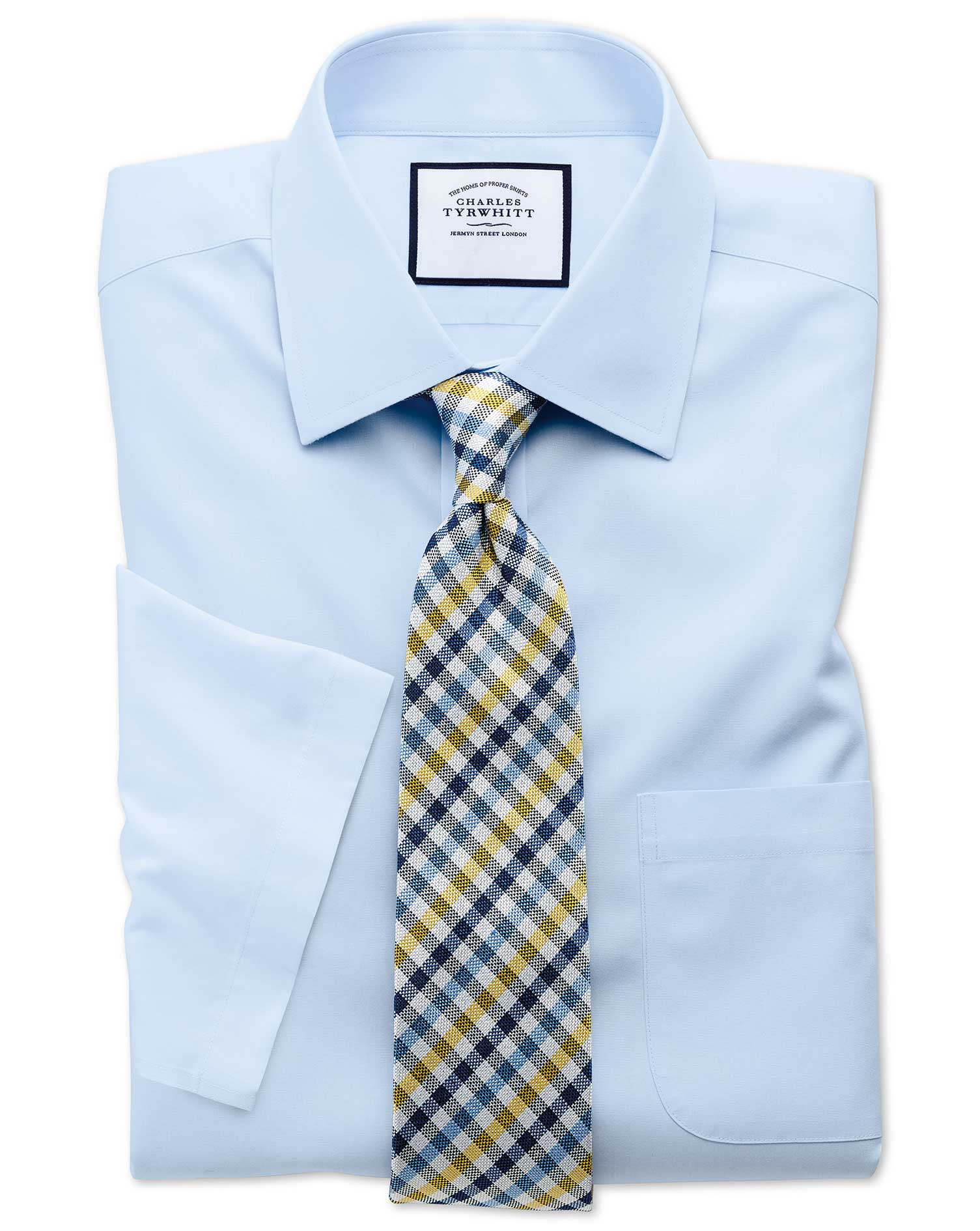 Classic Fit Non-Iron Poplin Short Sleeve Sky Blue Cotton Formal Shirt Size 17.5/Short by Charles Tyr