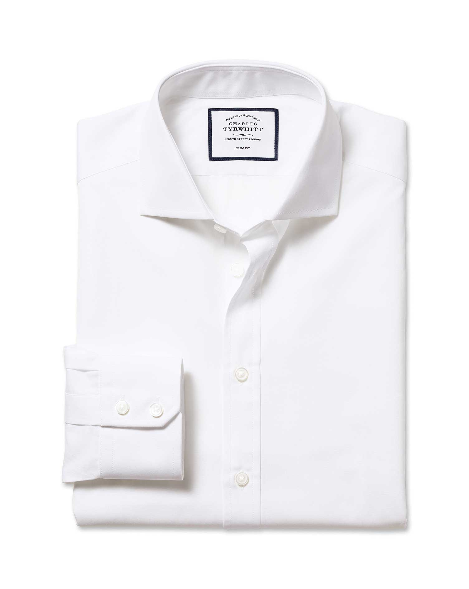Slim Fit Cutaway Egyptian Cotton Poplin White Formal Shirt Single Cuff Size 17/38 by Charles Tyrwhit