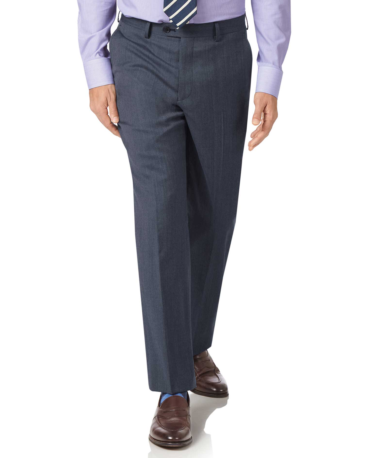 Light Blue Classic Fit Twill Business Suit Trousers Size W42 L34 by Charles Tyrwhitt