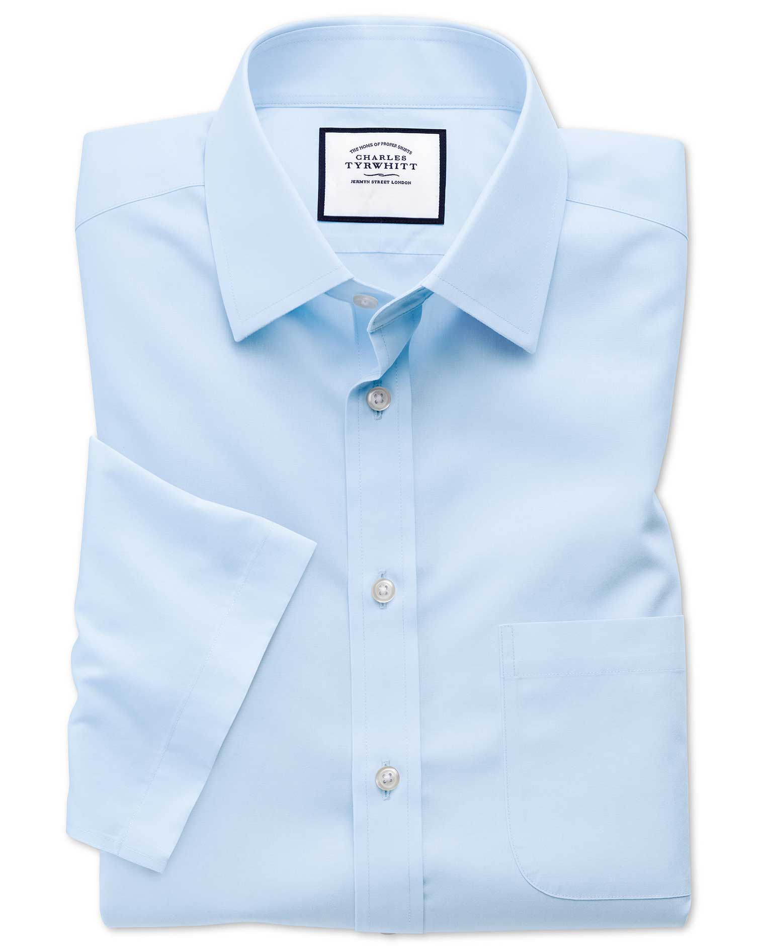 Slim Fit Non-Iron Poplin Short Sleeve Sky Cotton Formal Shirt Size 17.5/Short by Charles Tyrwhitt