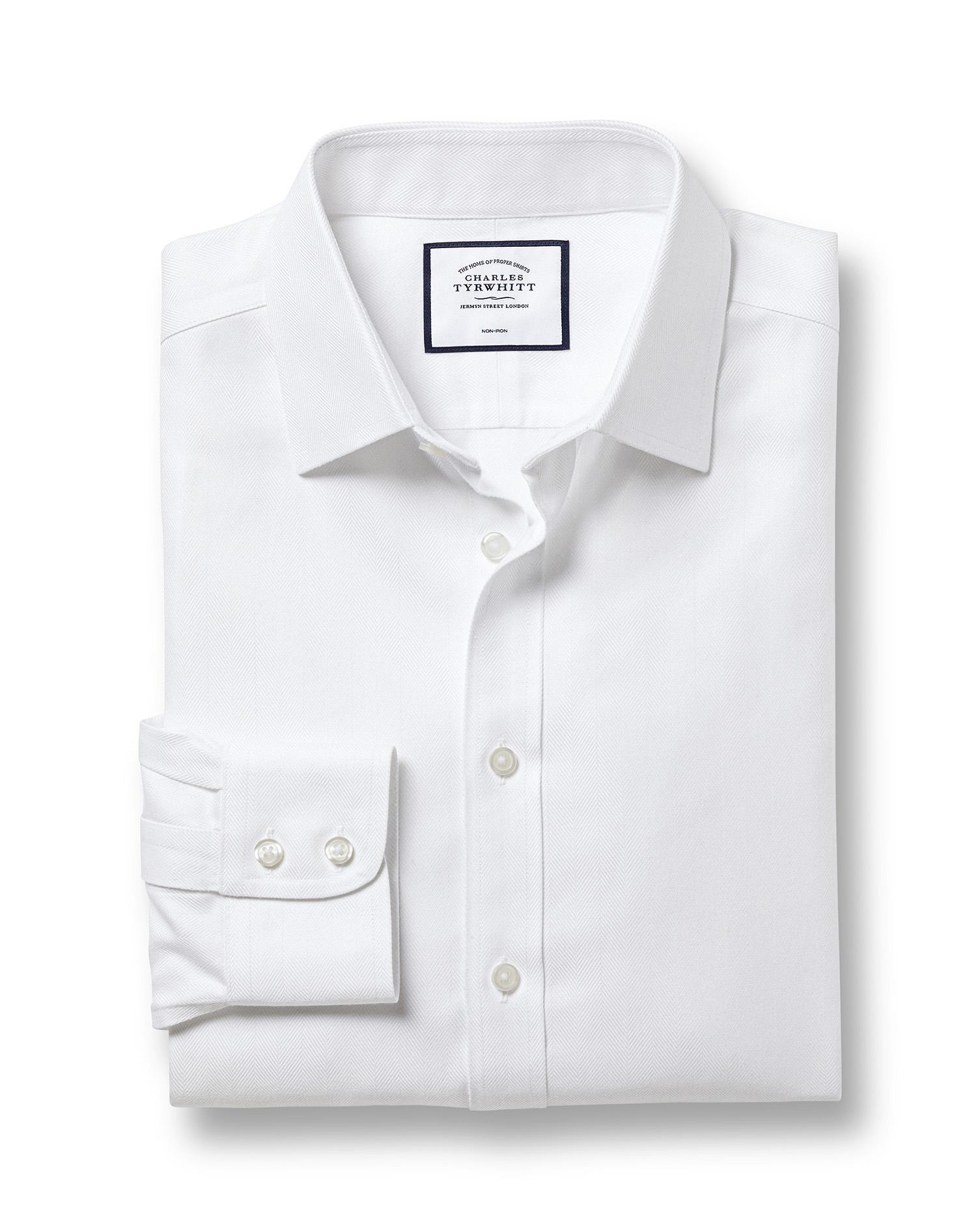 Cotton Classic Fit Non-Iron White Herringbone Shirt