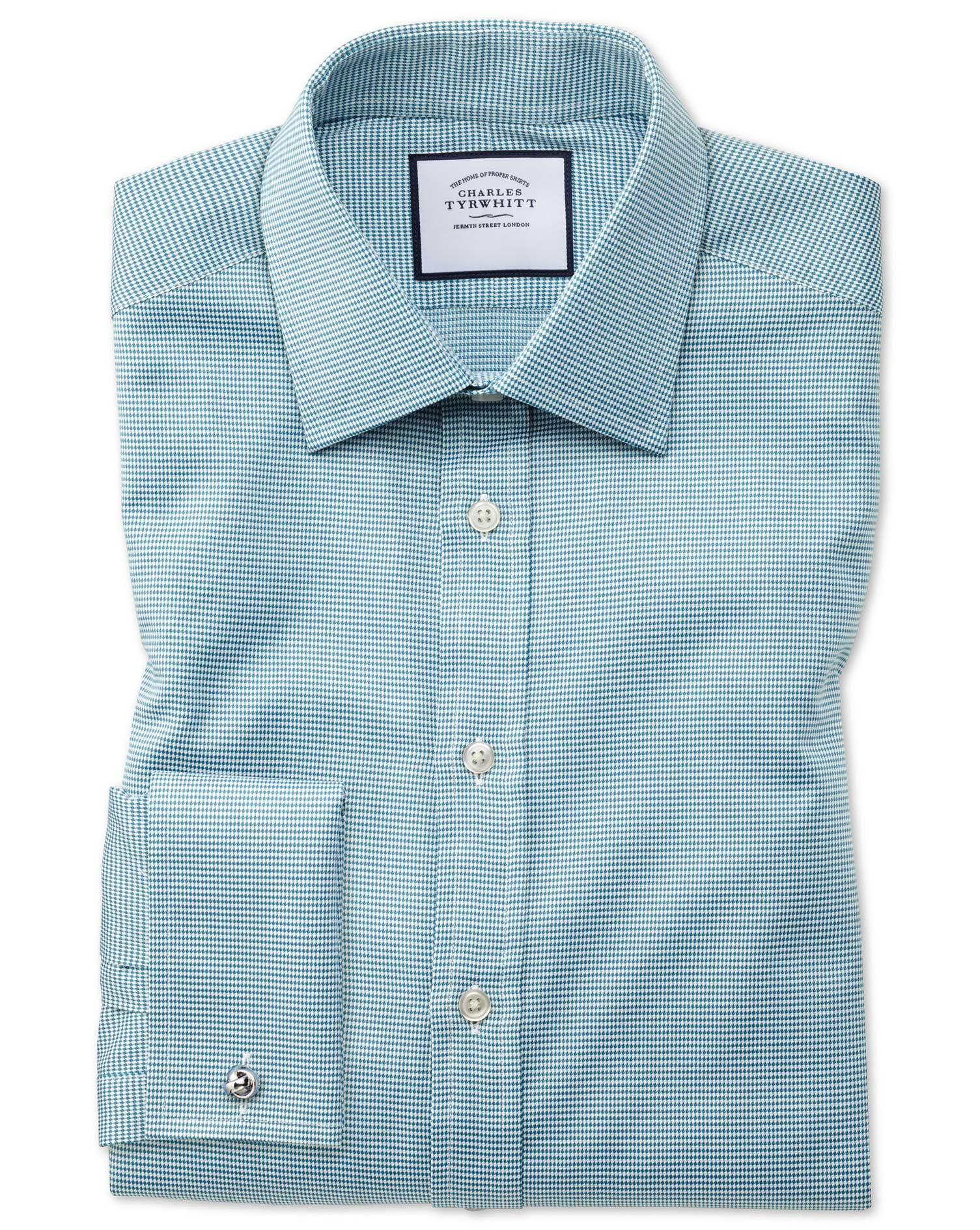 Classic Fit Teal Small Puppytooth Egyptian Cotton Formal Shirt Single Cuff Size 17.5/34 by Charles T