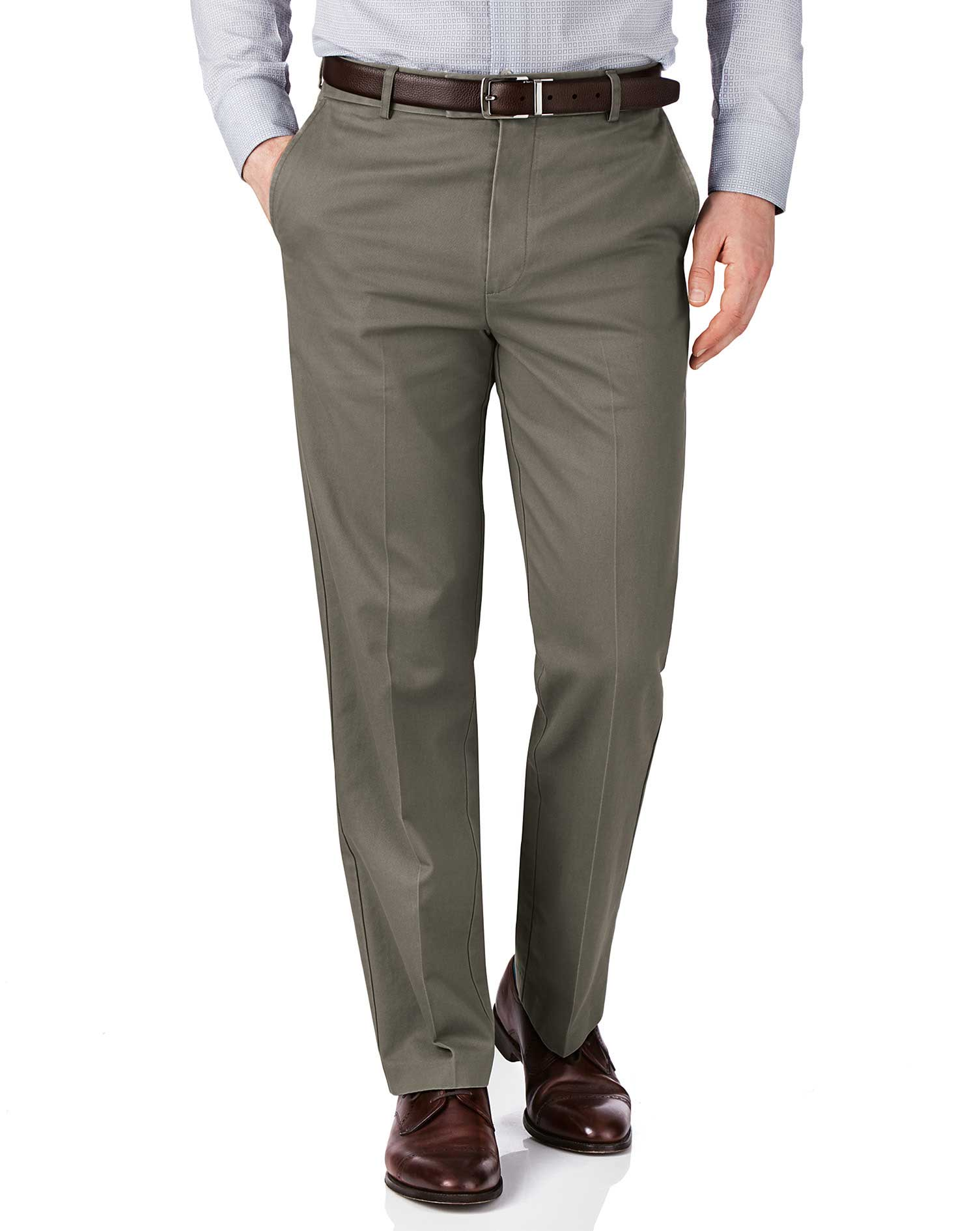 Olive Green Slim Fit Flat Front Non-Iron Cotton Chino Trousers Size W32 L34 by Charles Tyrwhitt