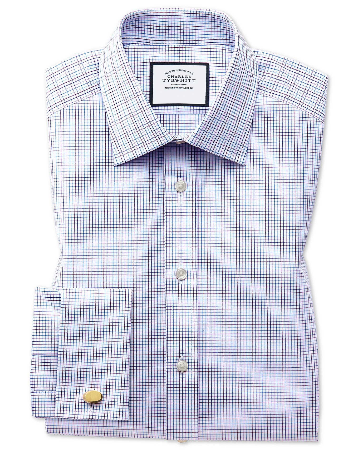 Extra Slim Fit Purple Multi Check Egyptian Cotton Formal Shirt Single Cuff Size 16/38 by Charles Tyr