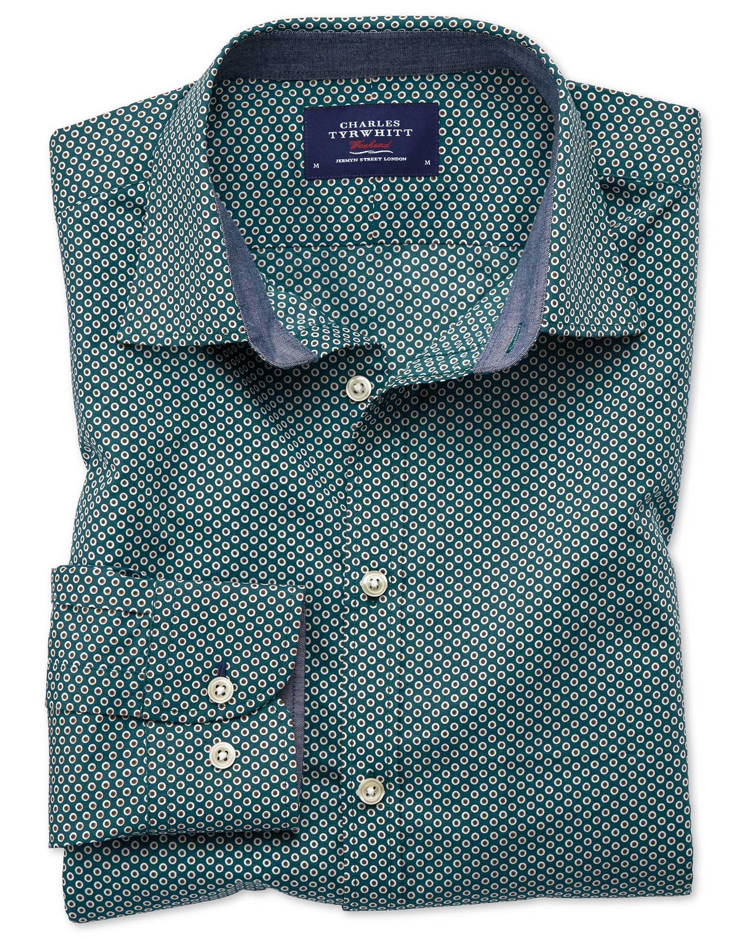 Classic Fit Dark Green Spot Print Cotton Shirt Single Cuff Size Small by Charles Tyrwhitt
