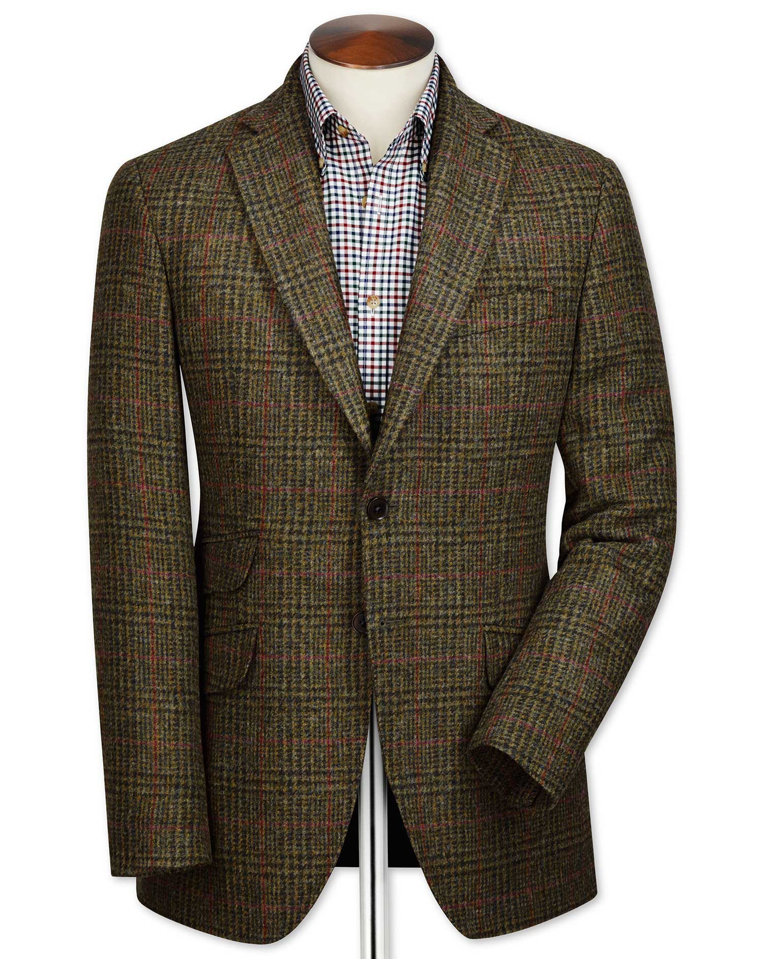 Slim Fit Green Checkered British Tweed Wool Jacket Size 42 Short by Charles Tyrwhitt
