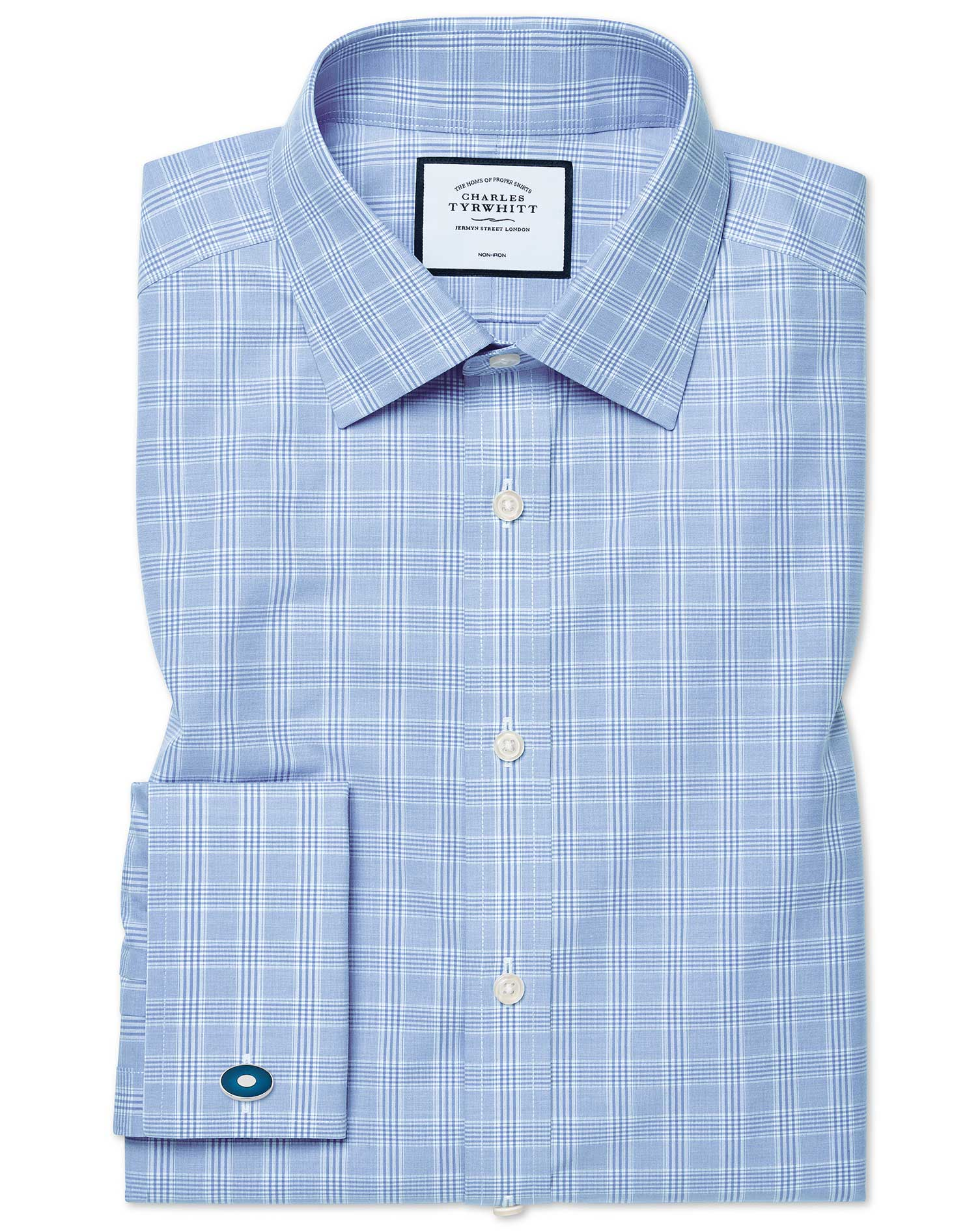 Slim Fit Non-Iron Sky Blue Prince Of Wales Check Cotton Formal Shirt Single Cuff Size 14.5/32 by Cha