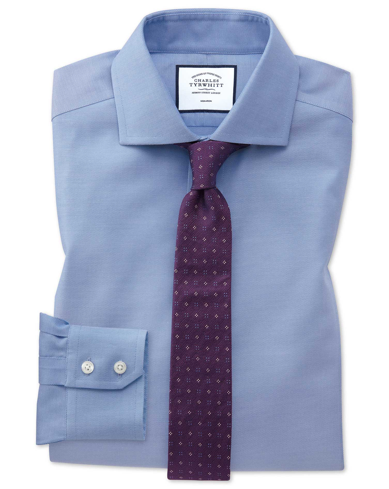 Extra Slim Fit Non-Iron Mid-Blue Oxford Stretch Cotton Formal Shirt Single Cuff Size 15/33 by Charle