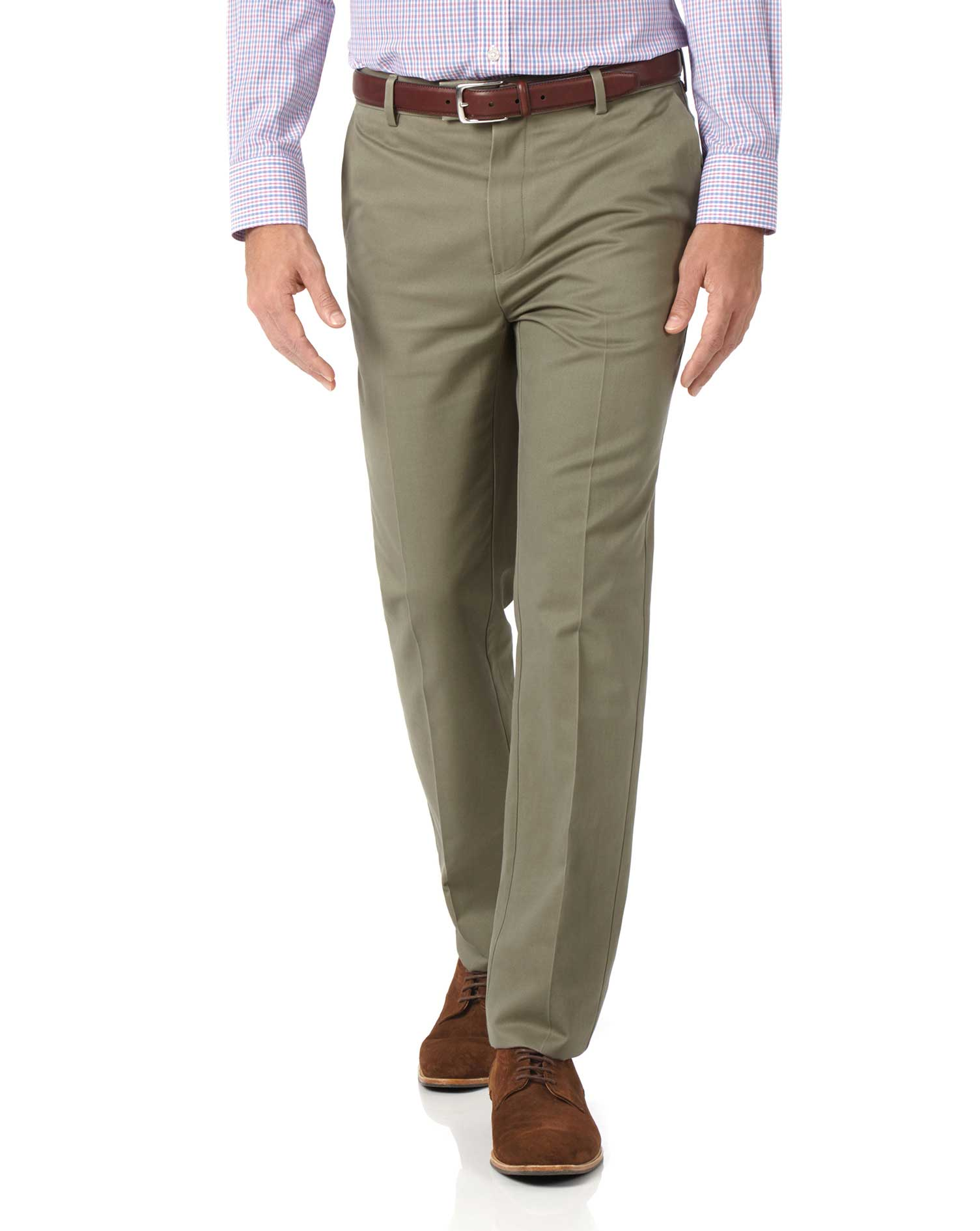 Olive Slim Fit Flat Front Non-Iron Cotton Chino Trousers Size W34 L30 by Charles Tyrwhitt